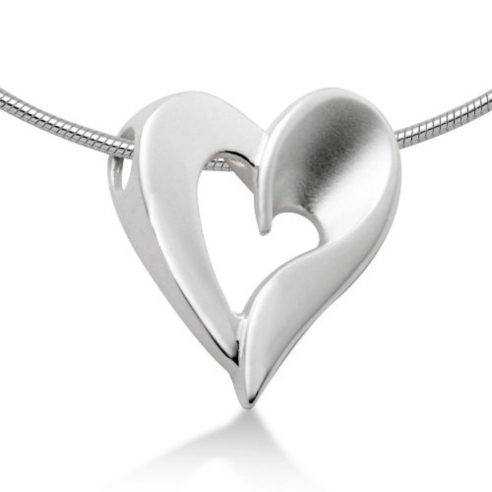 Miore Damen-Collier 925 Sterling-Silber Schlangenkette  Anhänger Herz teilweise matt 45cm MSM073P