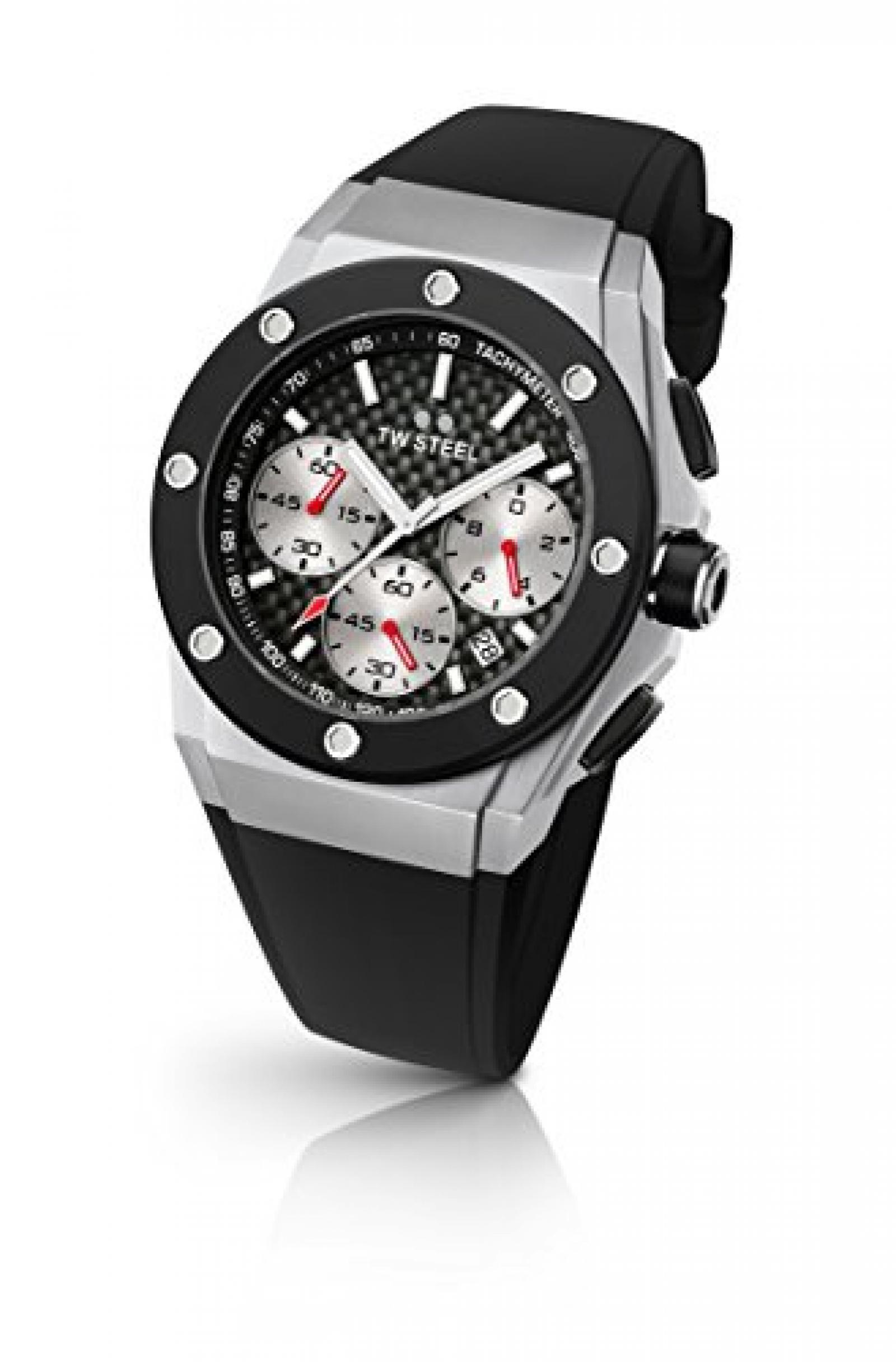 TW Steel Unisex-Armbanduhr CEO Tech David Coulthard Edition Chronograph Silikon Schwarz CE4019