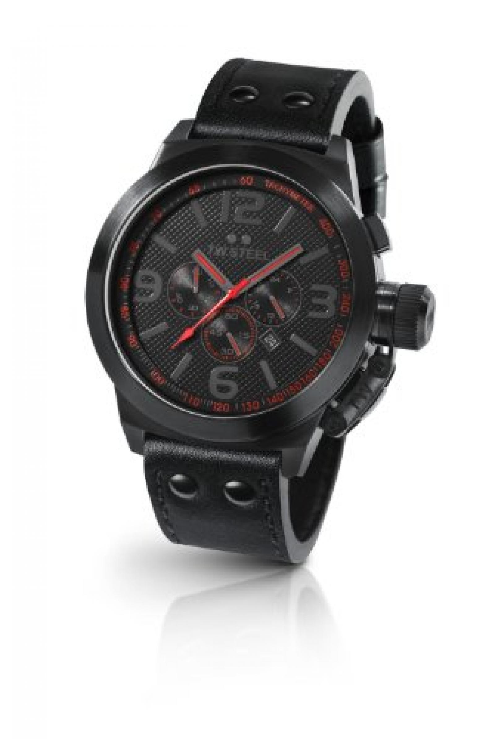 TW Steel Herren-Armbanduhr XL Canteen Style Chronograph Leder TW-902