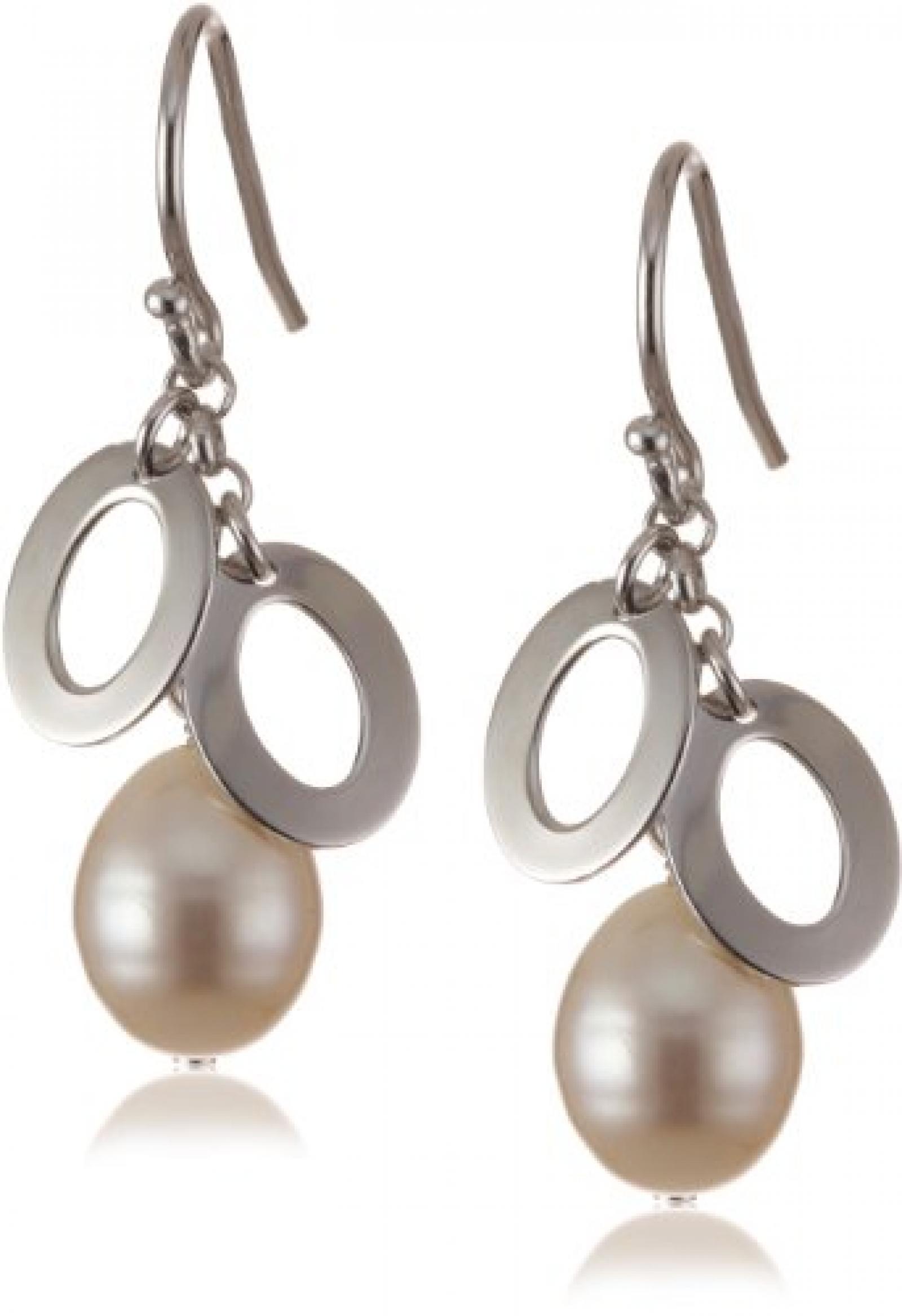 Valero Pearls Silver Collection Damen-Ohrstecker Hochwertige Süßwasser-Zuchtperlen in ca.  8 mm Tropfenform weiß 925 Sterling Silber       60201040