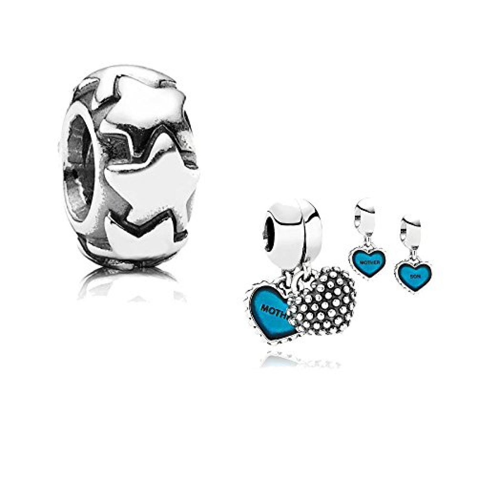 Original Pandora Geschenkset - 1 Silber Pendel Mutter & Sohn mit blauer Emaille 791152EN08 und 1 Silber Zwischenelement Sternenregen 790985