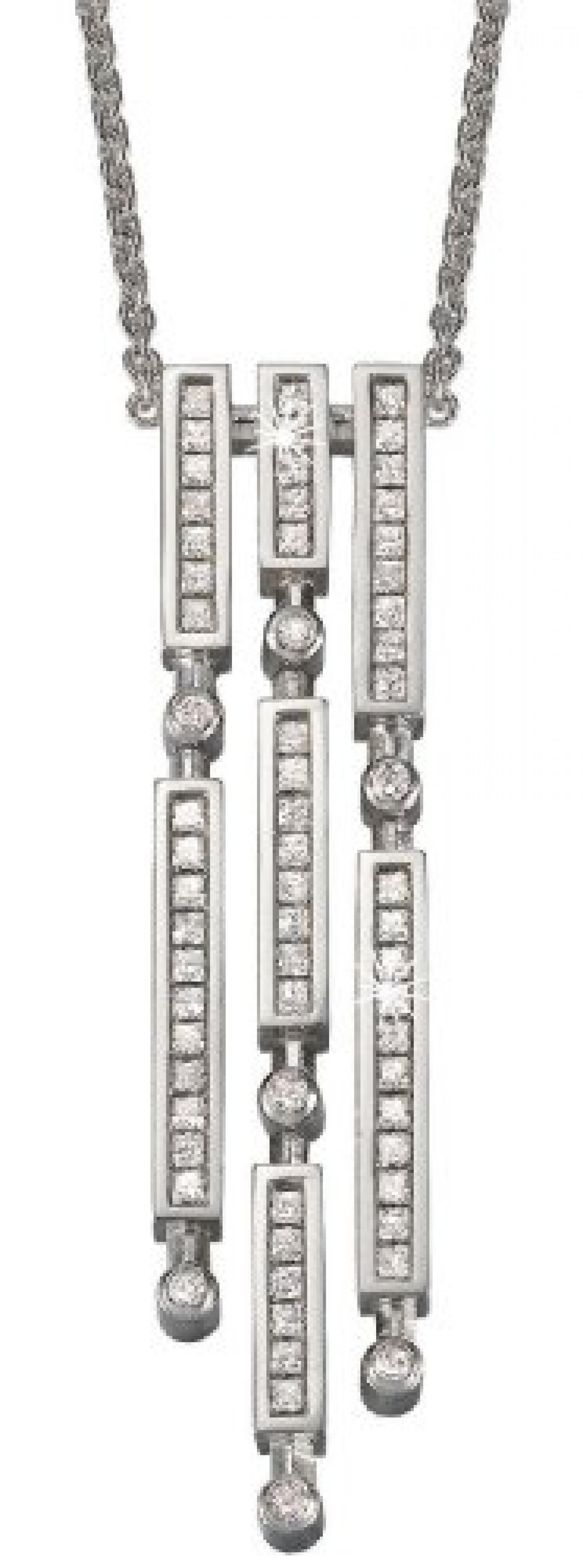 Pierre Cardin Damen Halskette 925 Sterling Silber rhodiniert Kristall Zirkonia Cascade 42 cm weiß PCNL90385A420