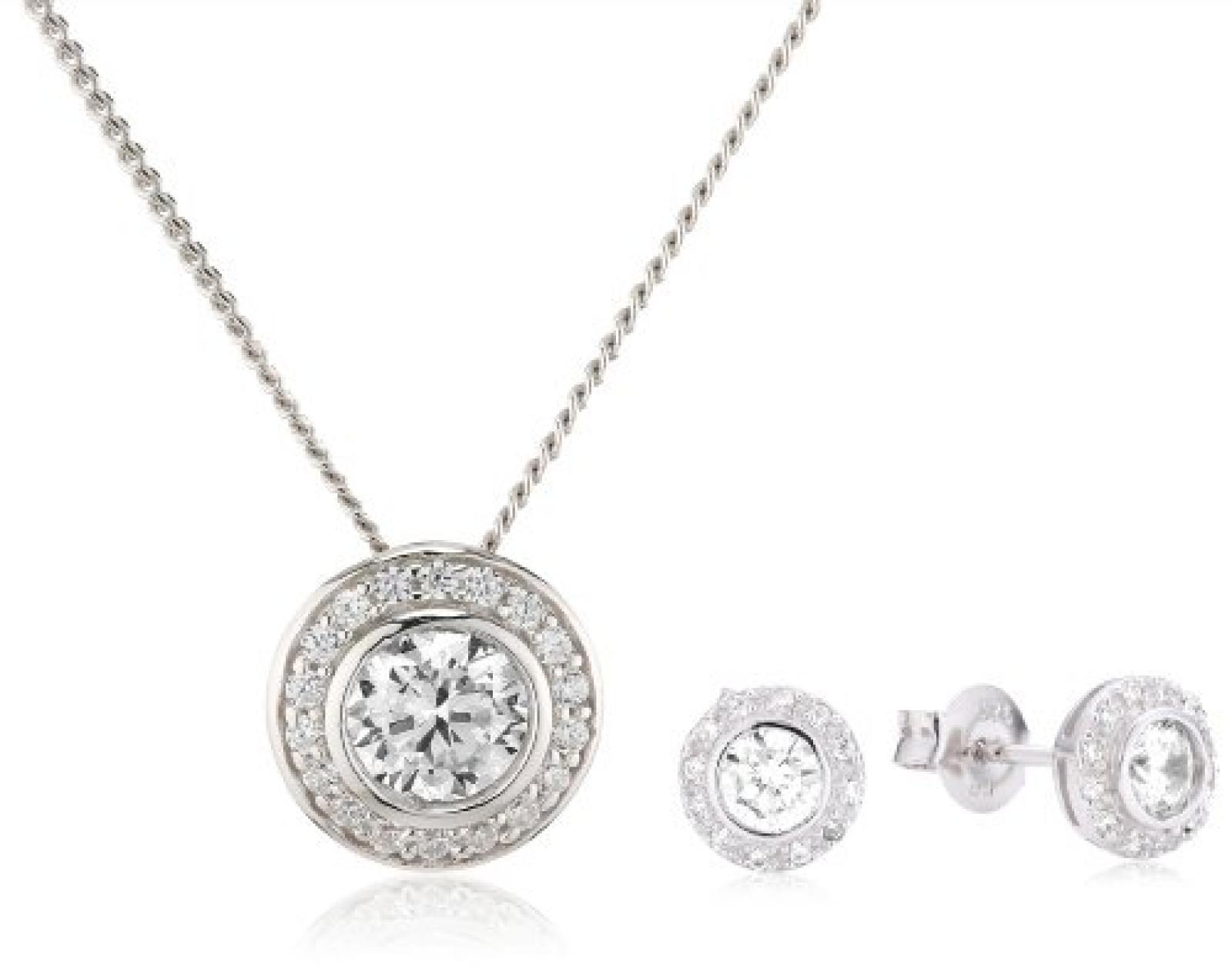 Celesta Damen-Set: Halskette + Ohrringe 925 Sterling Silber rhodiniert Zirkonia Celesta 42 cm weiß 500201436-42