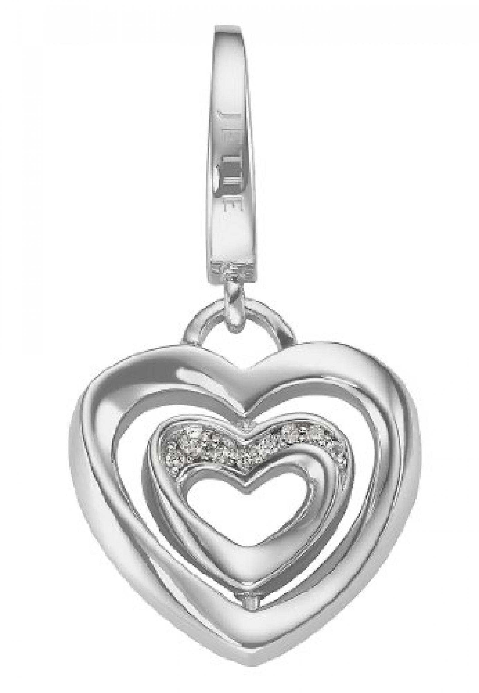 JETTE Charms Damen-Charm CHARM 925er Silber rhodiniert 8 Zirkonia One Size, silber