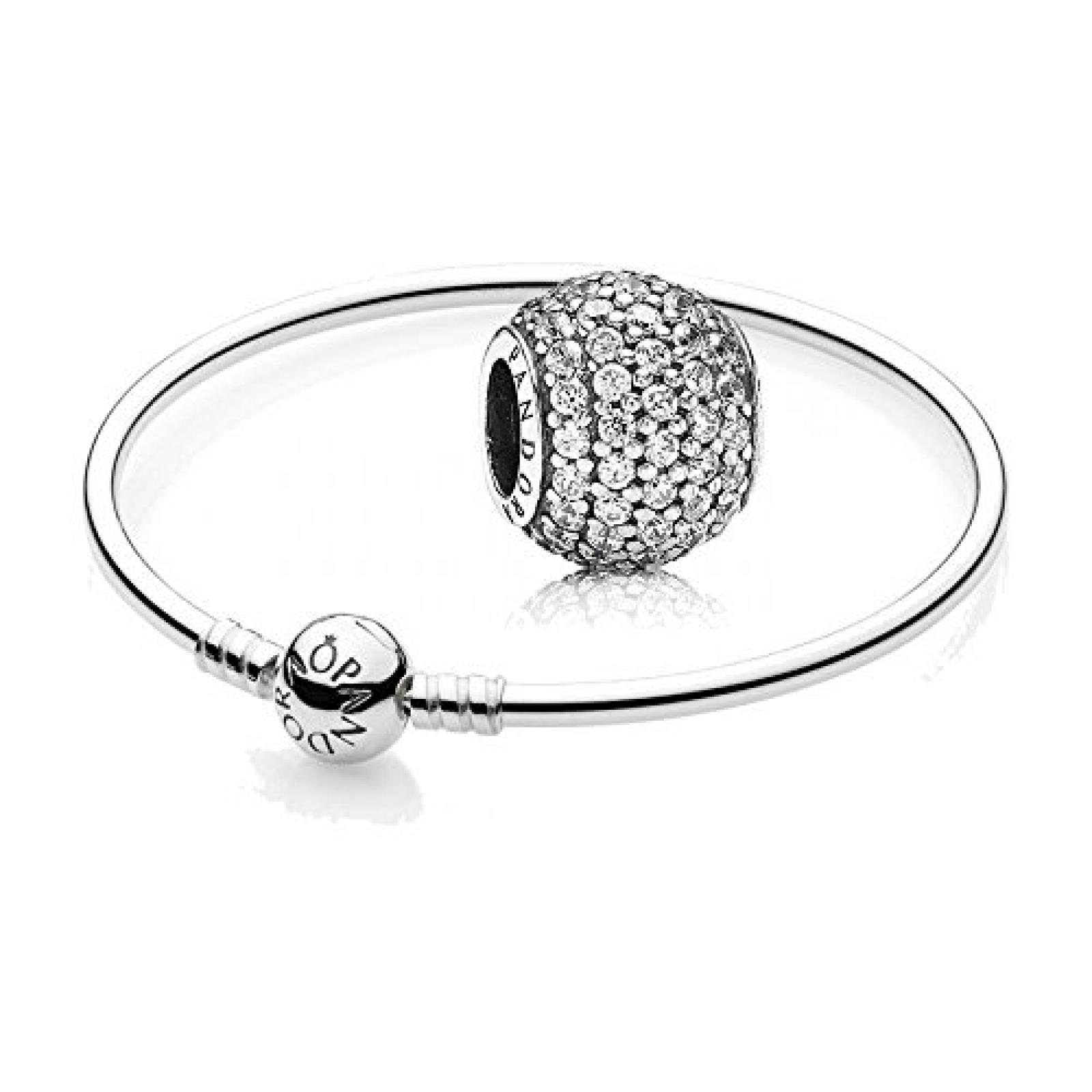 Original Pandora Geschenkset - 1 Silber Armreif 590713 und 1 Silber Element Pavé Kugel mit klarem Zirkonia 791051CZ