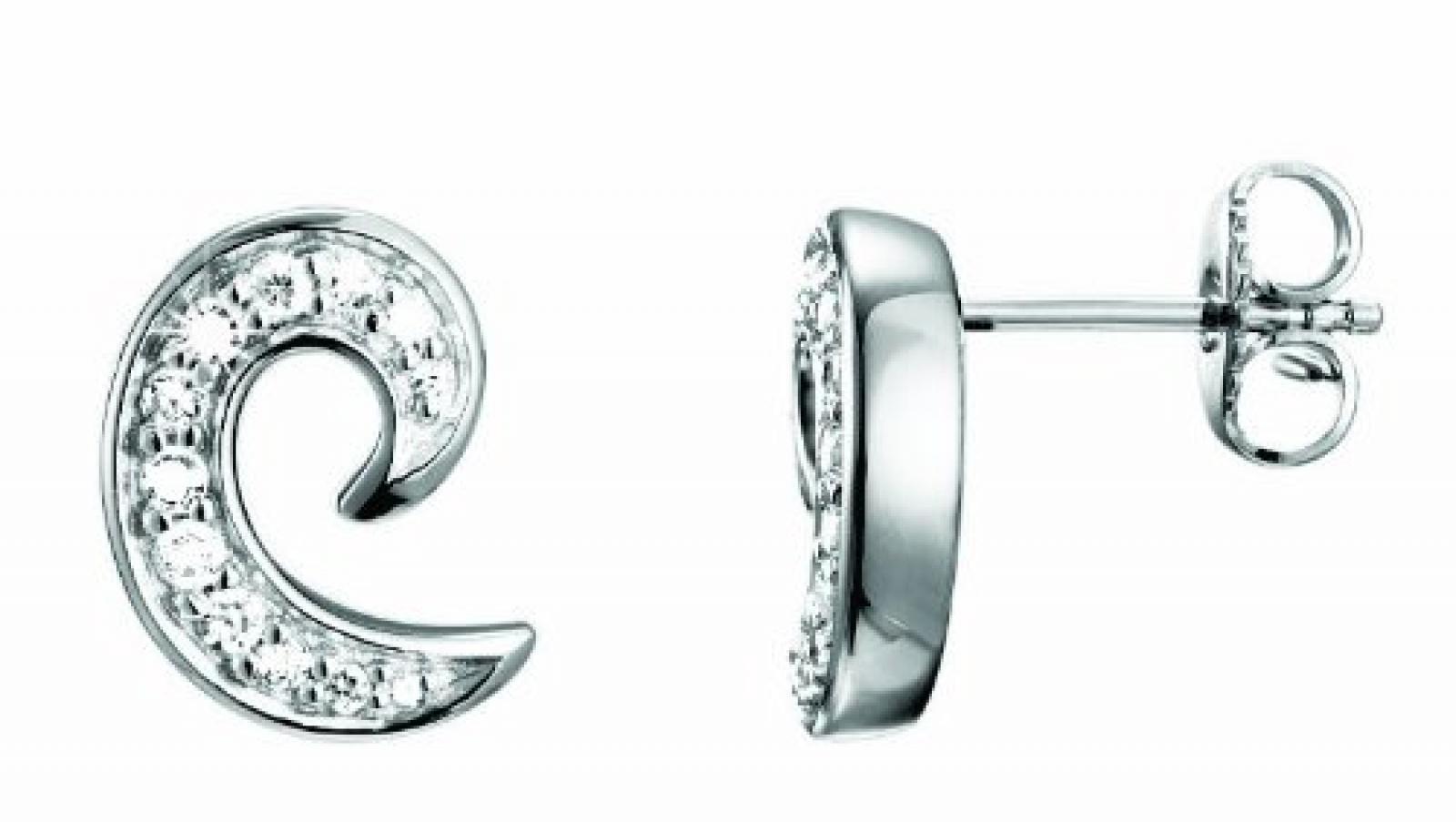 Pierre Cardin Damen-Ohrstecker 925 Sterling Silber rhodiniert Kristall Zirkonia La Boucle weiß PCER90154A000