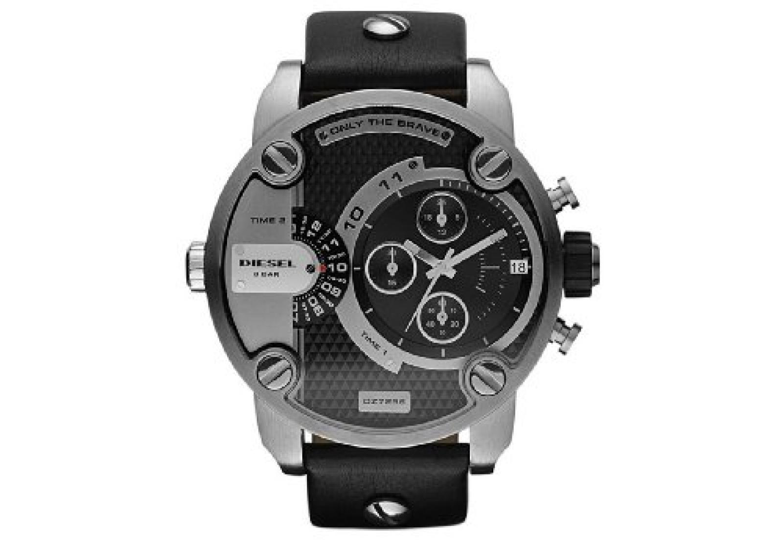 Diesel Herren-Armbanduhr XL Chronograph Quarz Leder DZ7256