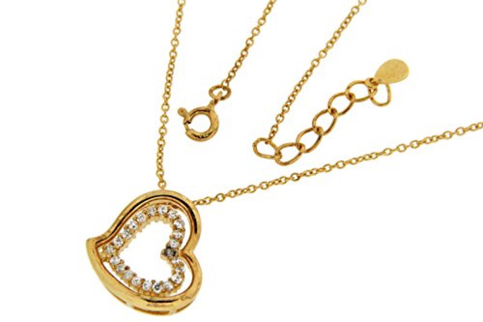 Kettenworld Damen Halskette 925 Sterling Silber Zirkonia 343673