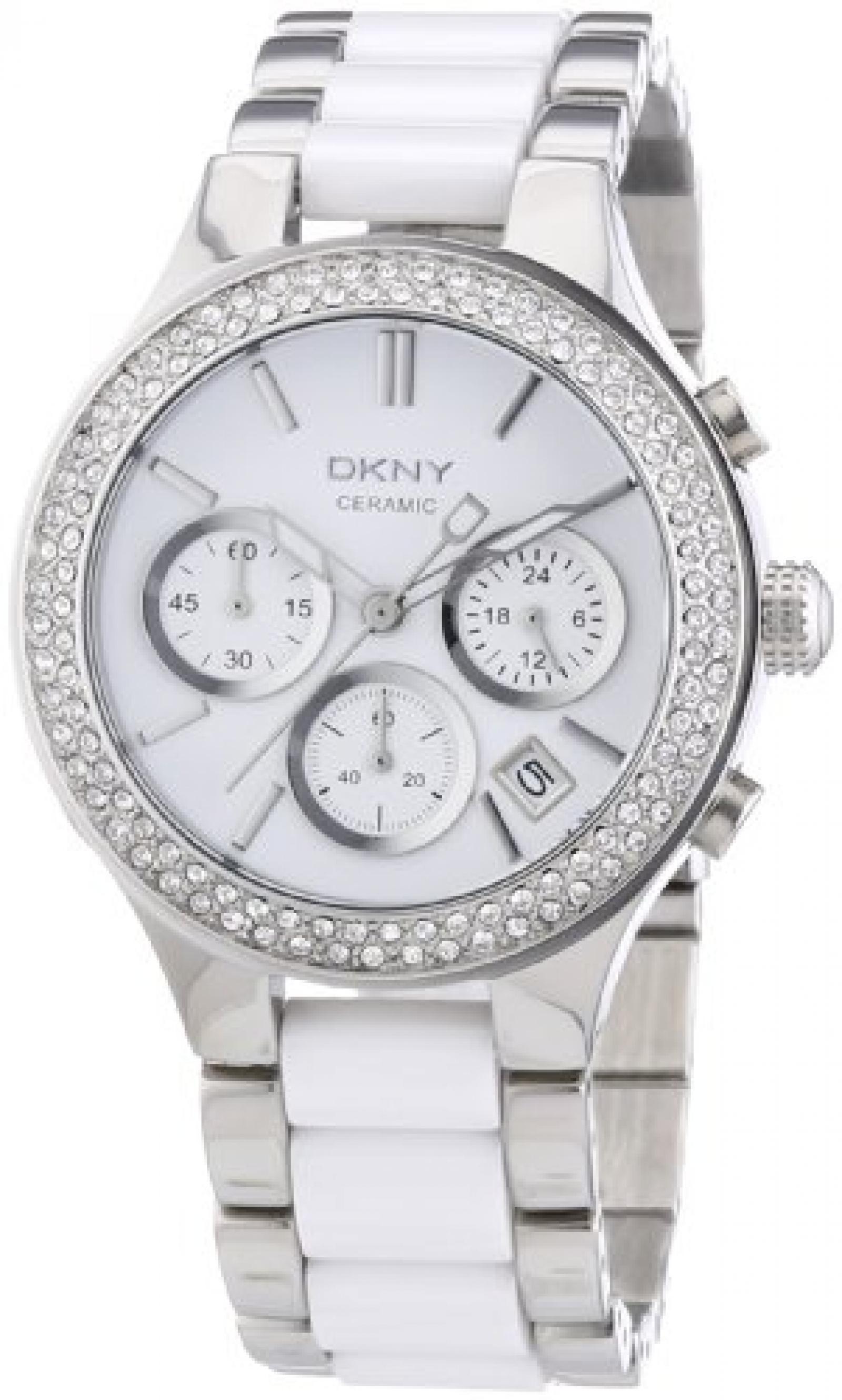 DKNY Damen-Armbanduhr Chronograph Quarz verschiedene Materialien NY8181