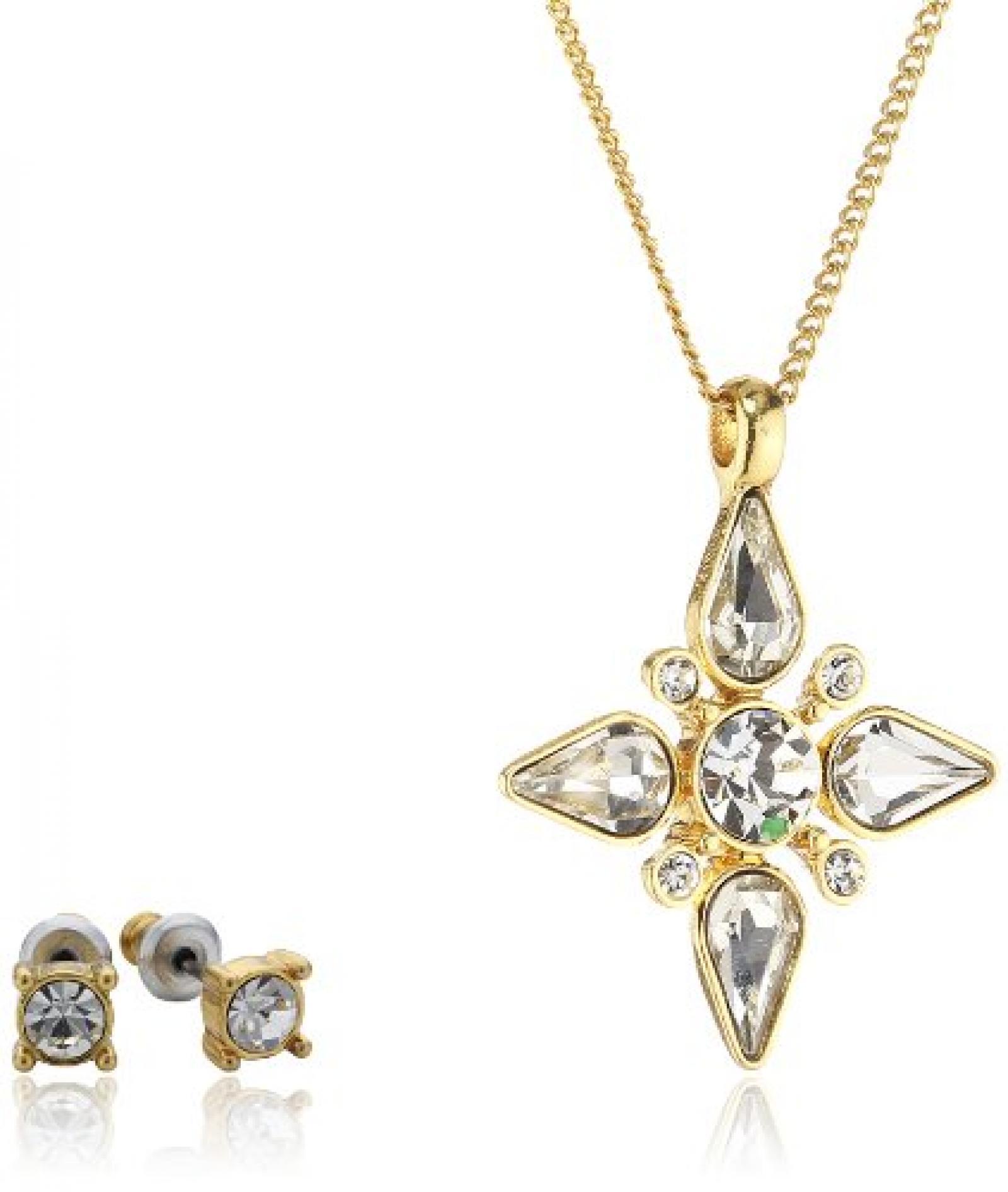 Pilgrim Jewelry Damen-Schmuckset: Halskette + Ohrstecker vergoldet Kristall weiß 901342009