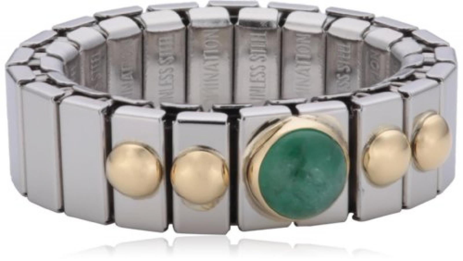 Nomination Damen-Ring Klein Sowie 1 Halb in Smaragd Ring größe variabel 040102/009