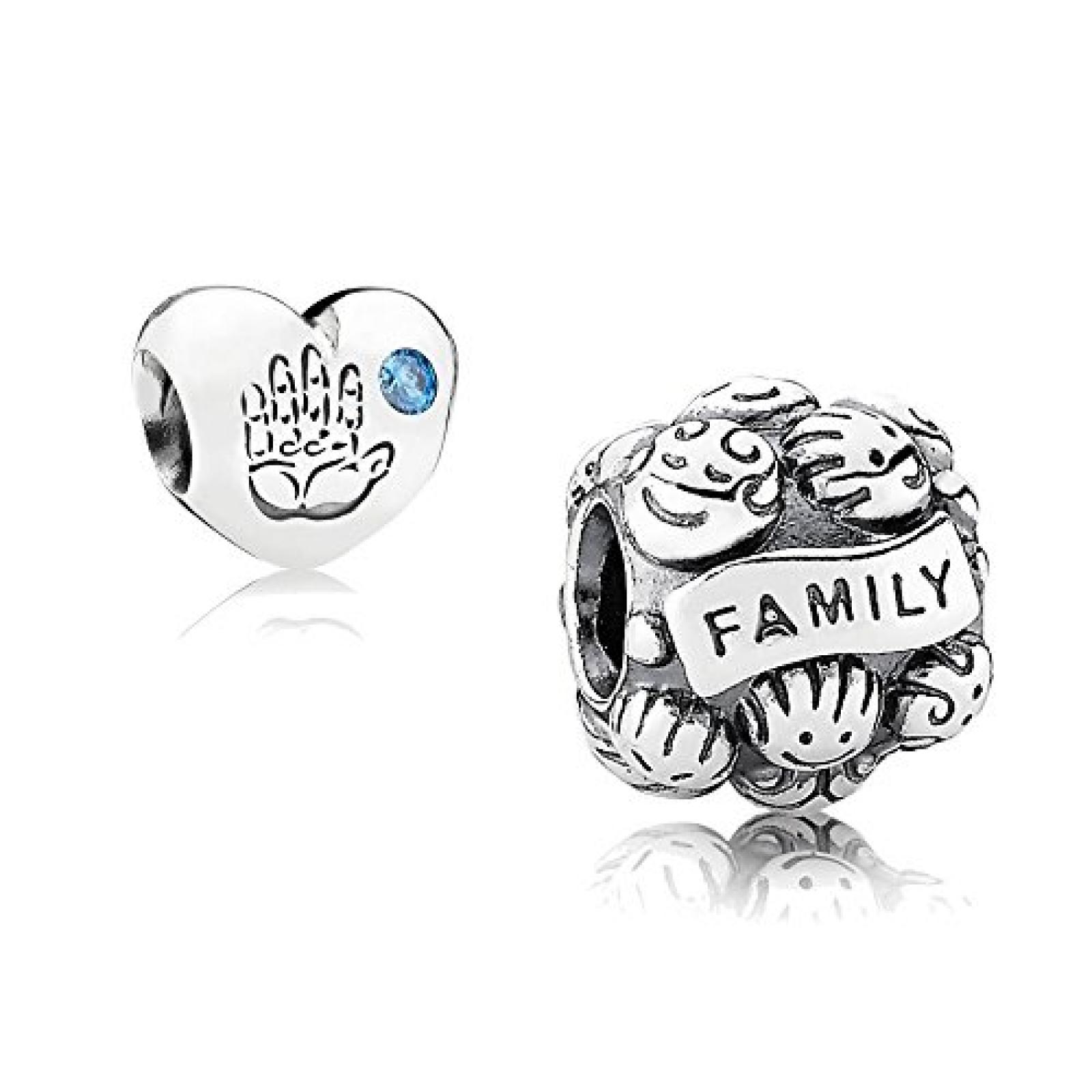 Original Pandora Geschenkset - 1 Silber Element Familienliebe 791039 und 1 Silber Element Baby Junge mit blauem Zirkonia 791281CZB