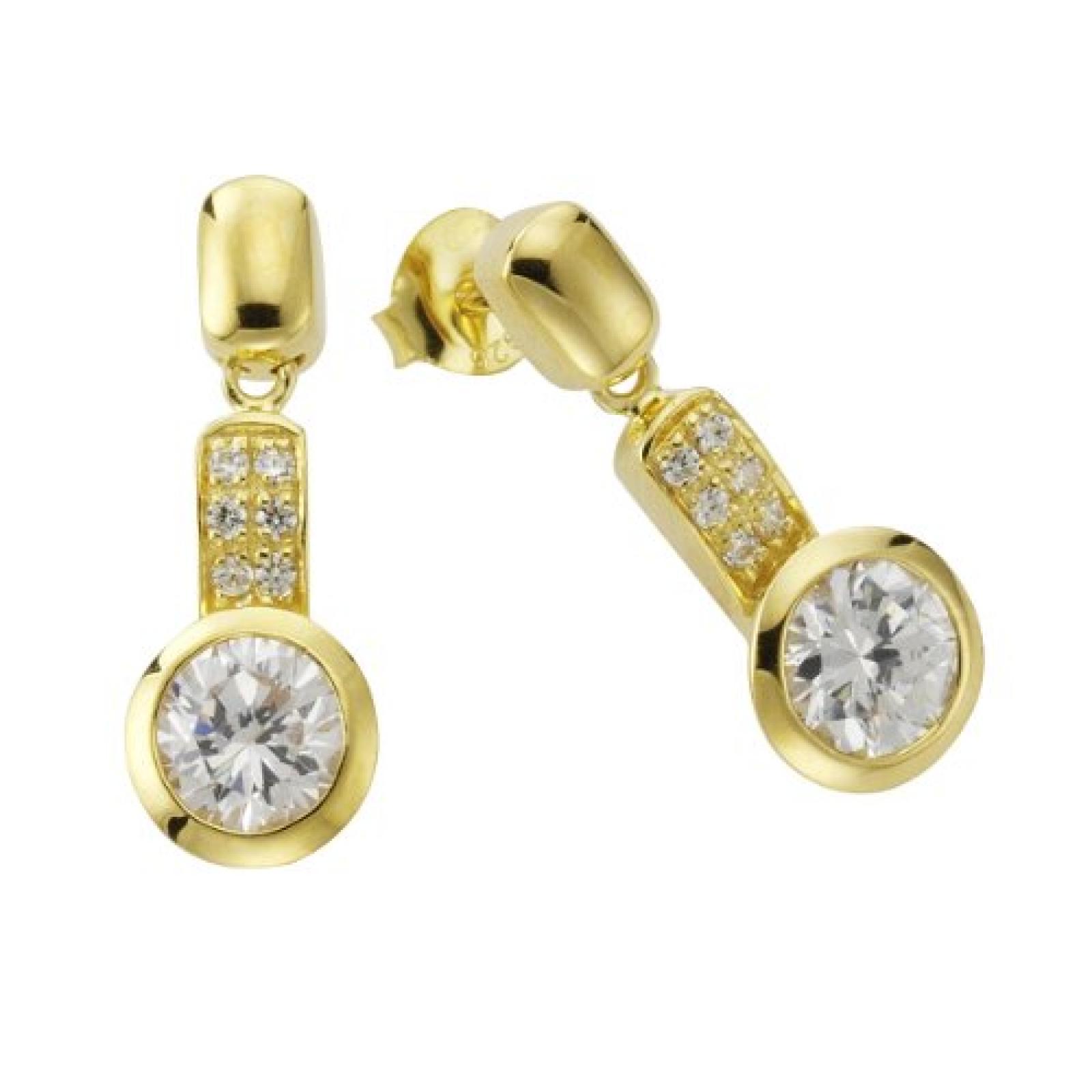 Celesta Damen-Ohrhänger 925 Sterling Silber vergoldet Zirkonia weiß 273220445-1L