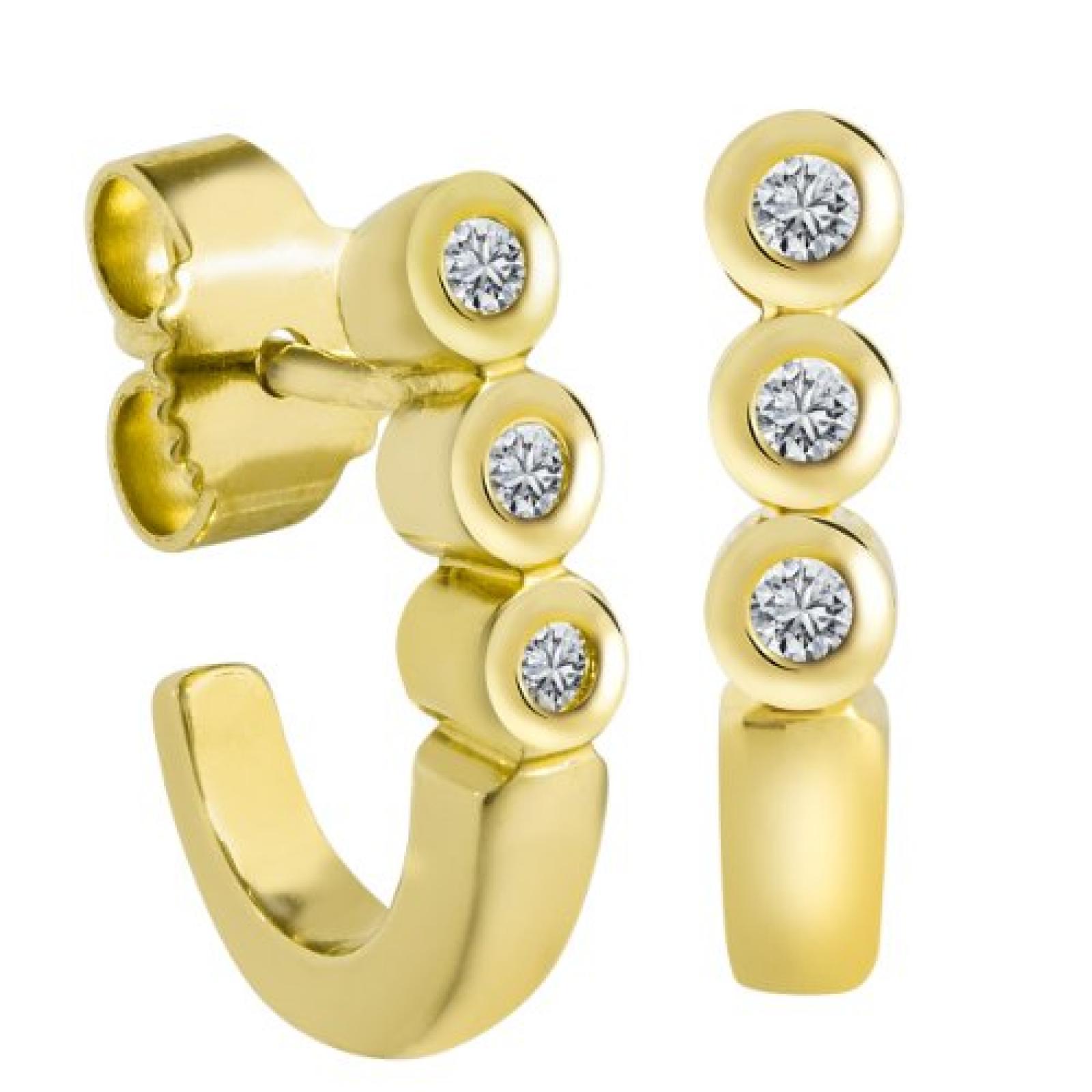 Bella Donna Damen-Ohrstecker 14 Karat 585 Gelbgold 6 Brillanten 0,12ct. getöntes Weiss Lupenrein 924550