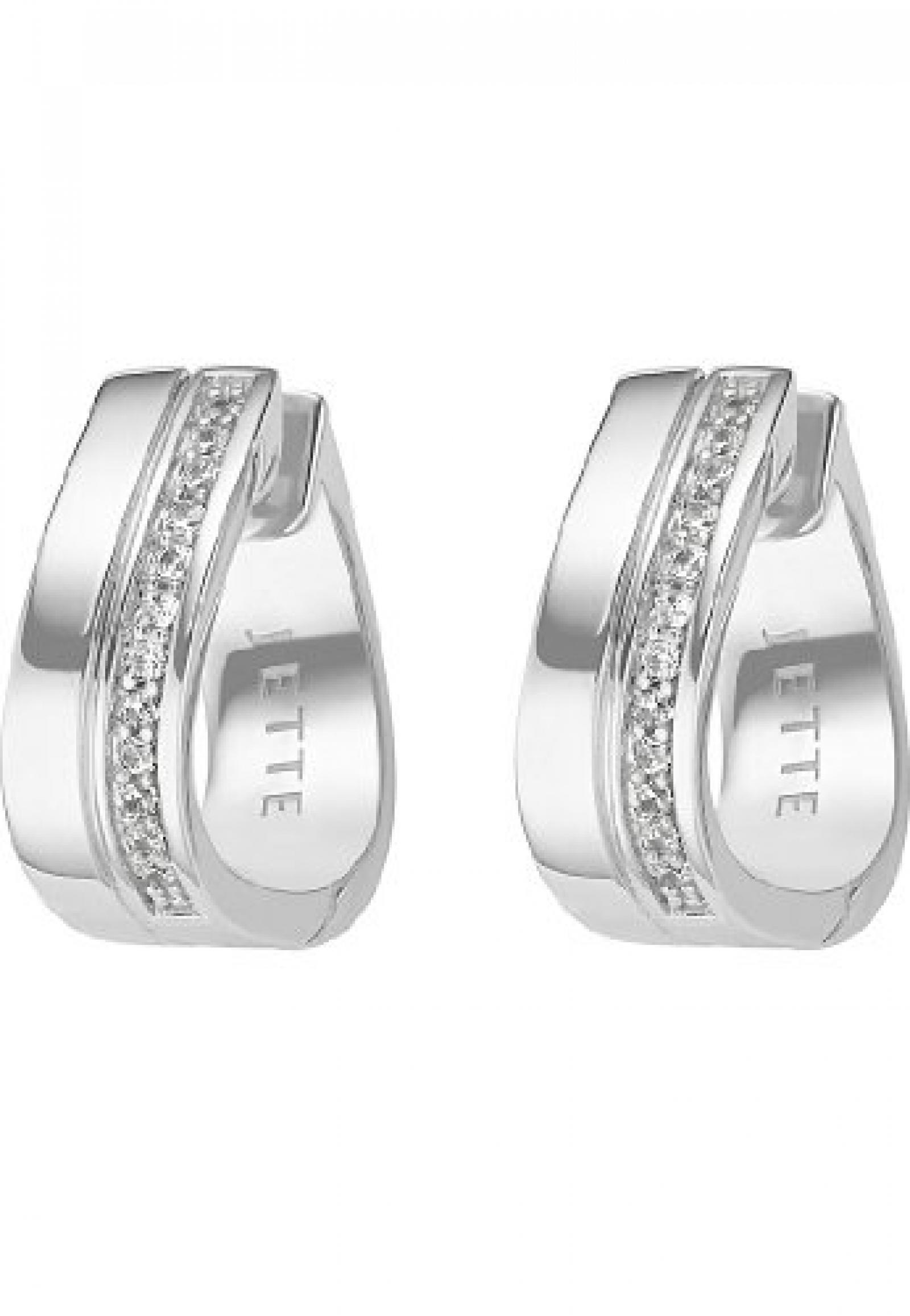 JETTE Silver Damen-Creole Free Spirit 925er Silber rhodiniert 24 Zirkonia One Size, silber
