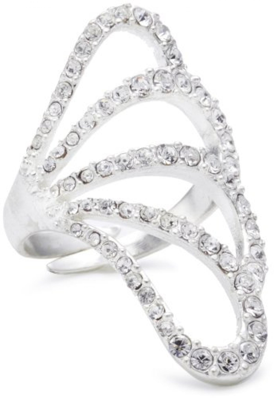 Pilgrim Jewelry Damen-Ring aus der Serie Big rings versilbert kristall verstellbar 3.2 cm 241235014 größenverstellbar