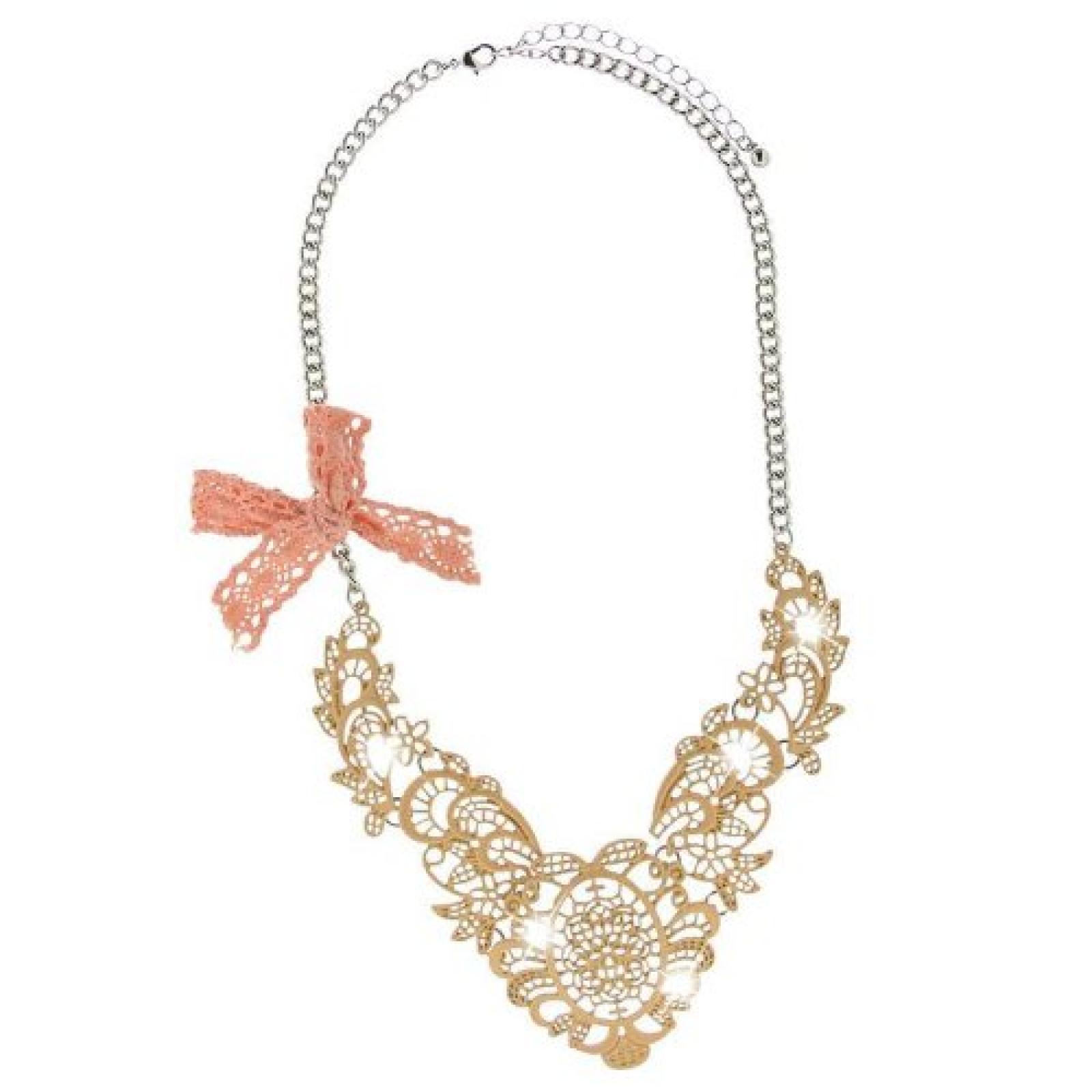 Sweet Deluxe Damen Halskette Metall rhodiniert Kunststoff 45 cm silber/beige 2966