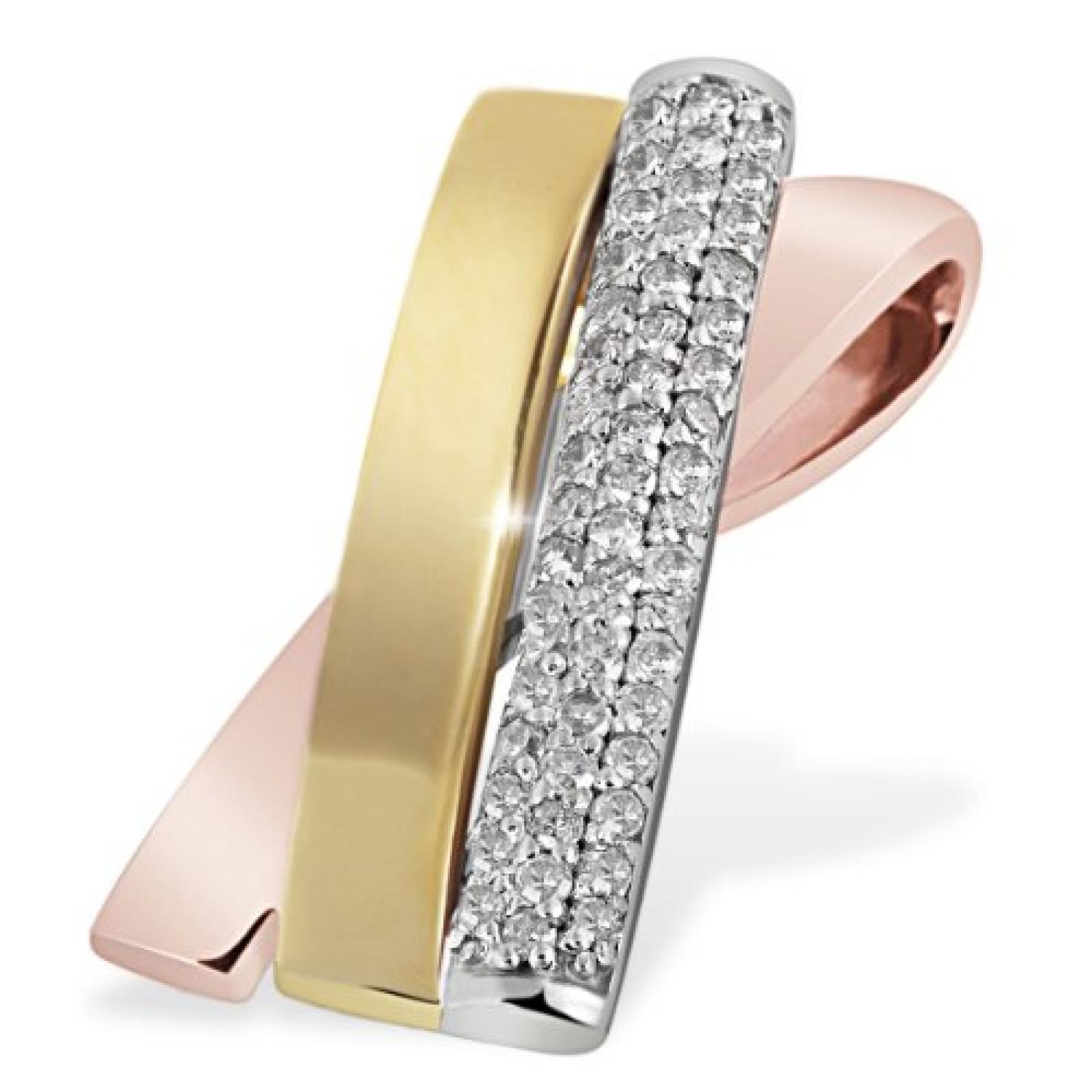 Goldmaid Damen-Anhänger Pavee Tricolor 375 Gold 51 Diamanten 0,27 ct. Pa A4933TR