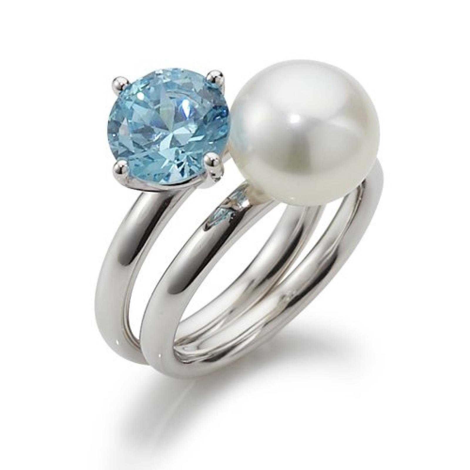 Adriana Damen-Ring Süßwasser Zuchtperlen blue lagoon 925 Sterling-Silber Rainbow RAR-H-Gr.56