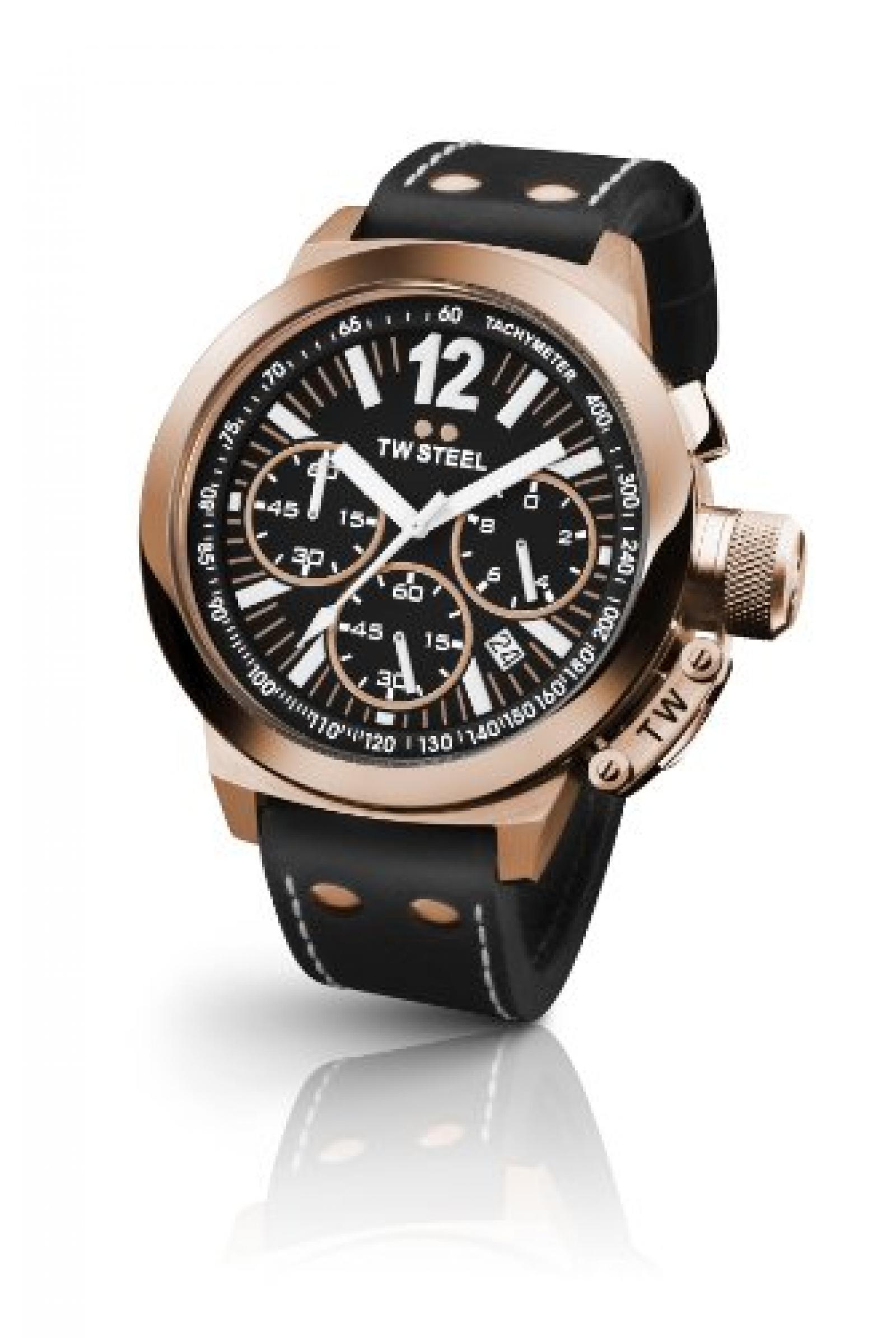 TW Steel Unisex-Armbanduhr Chronograph leder schwarz CE1023