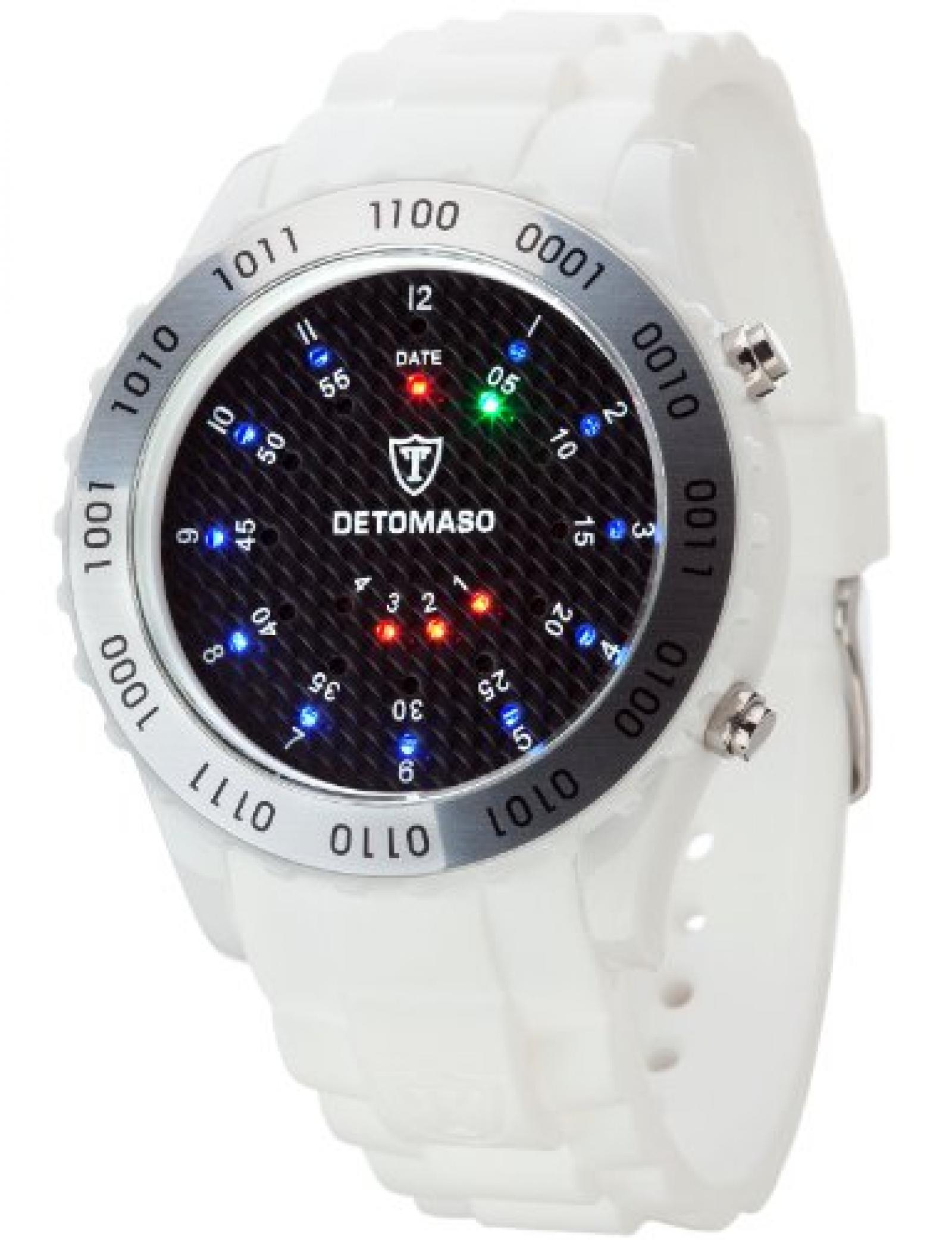 Detomaso Unisex-Armbanduhr SPACY TIMELINE Silicon White/Black Dial Digital Quarz Silikon DT2015-A