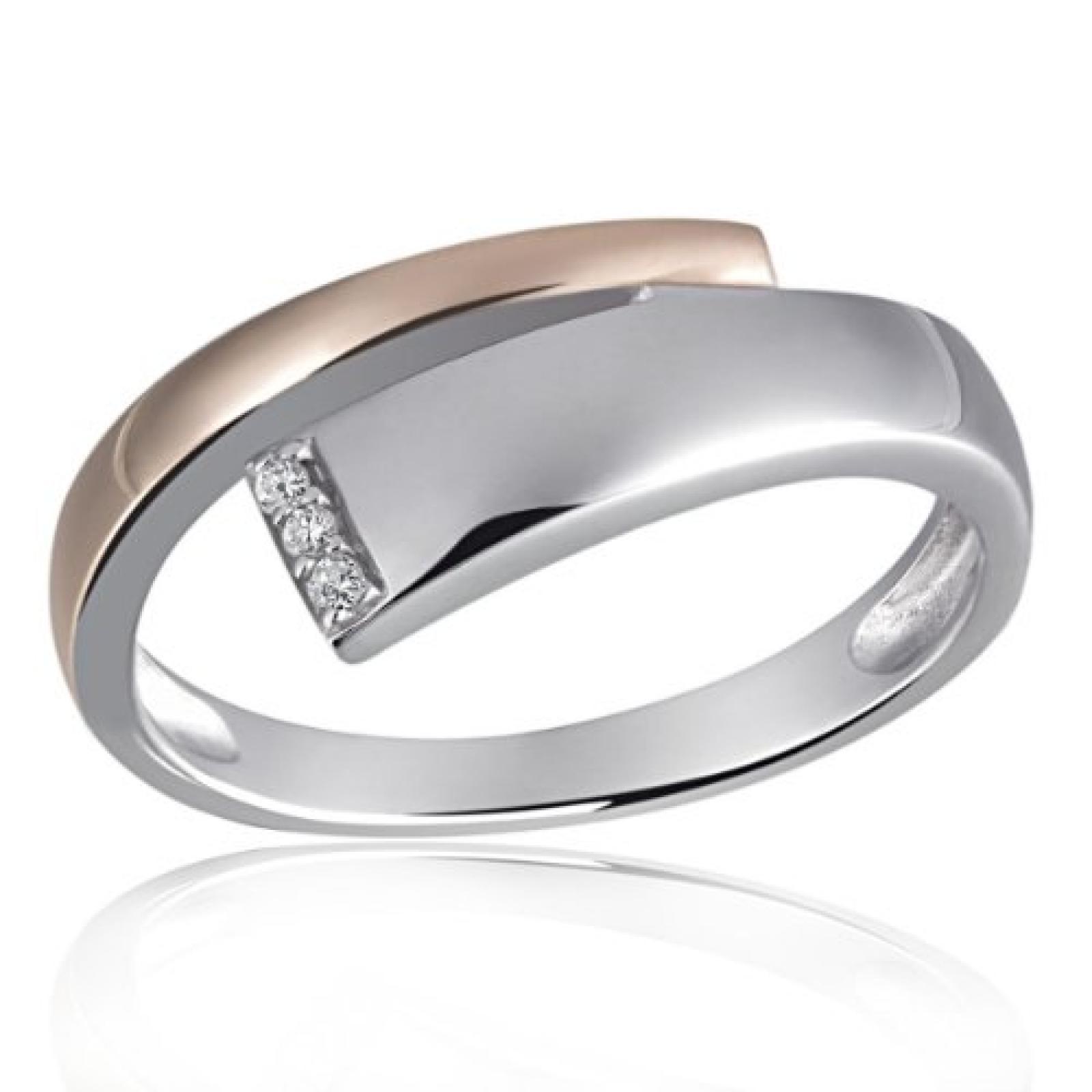Goldmaid Damen-Ring 925 Sterling Silber weiß Diamanten Bicolor 3 Diamanten 0,03 ct. Sd R6118S52