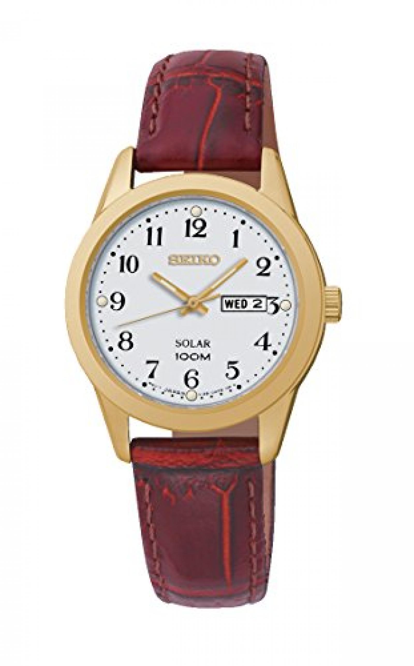 Seiko Damen-Armbanduhr Analog Quarz Leder SUT196P1