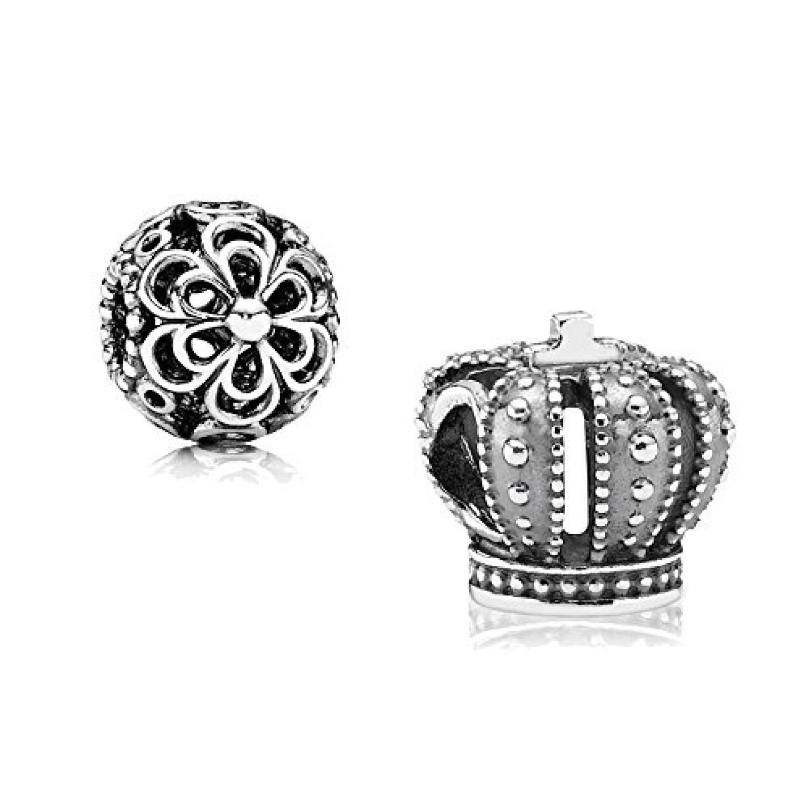 Original Pandora Geschenkset - 1 Silber Element Königliche Krone 790930 und 1 Filigranes Silber Element Durchbrochene Apfelblüte 790965