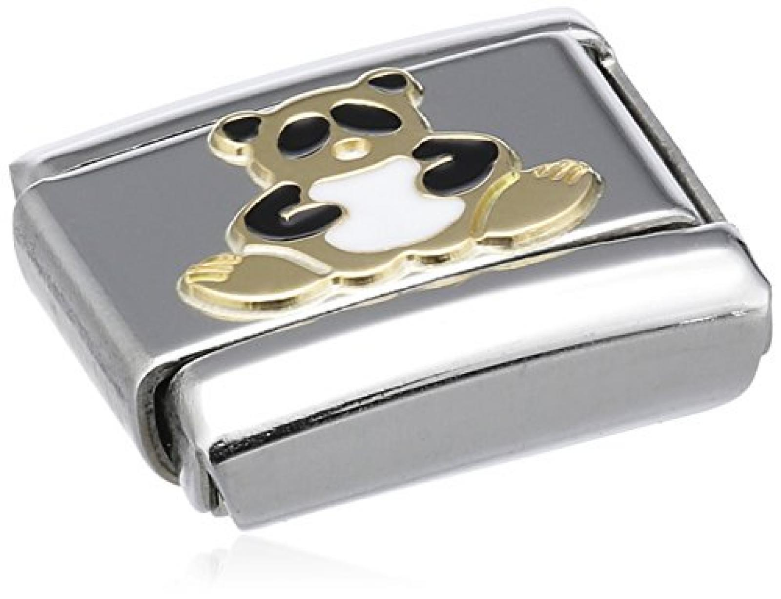 Nomination Composable Classic TIERE - LAND Edelstahl, Email und 18K-Gold (Panda) 030212