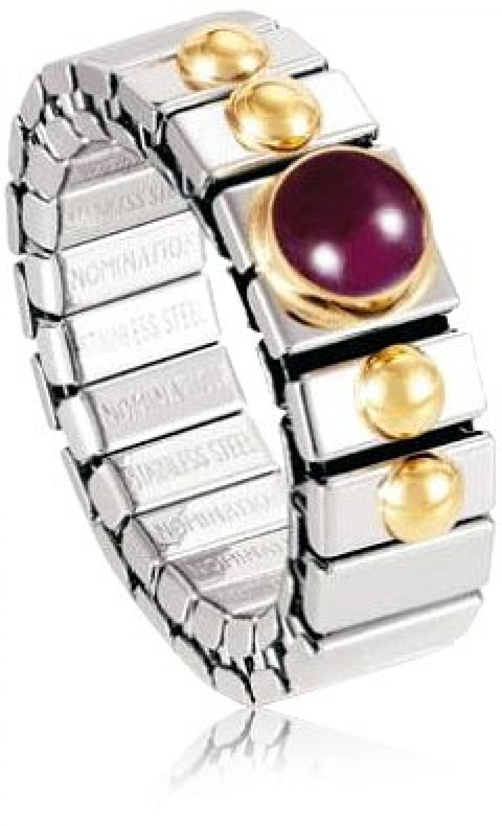 Nomination Damen-Ring Klein Sowie 1 Halb in Rubin Ring größe variabel 040102/010
