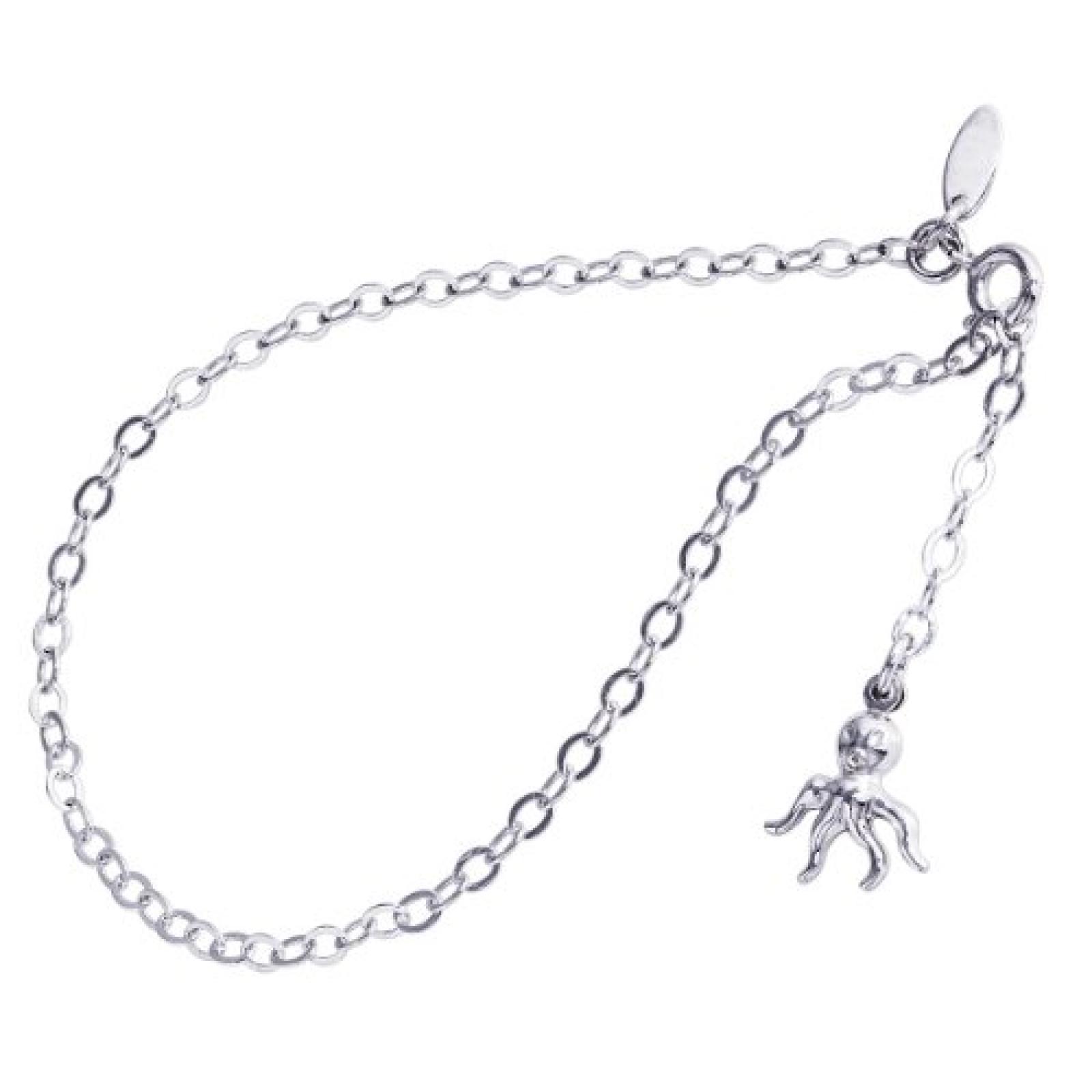 Bella Donna Damen-Fußkettchen 925 Sterling Silber Federring 25 cm 76532509