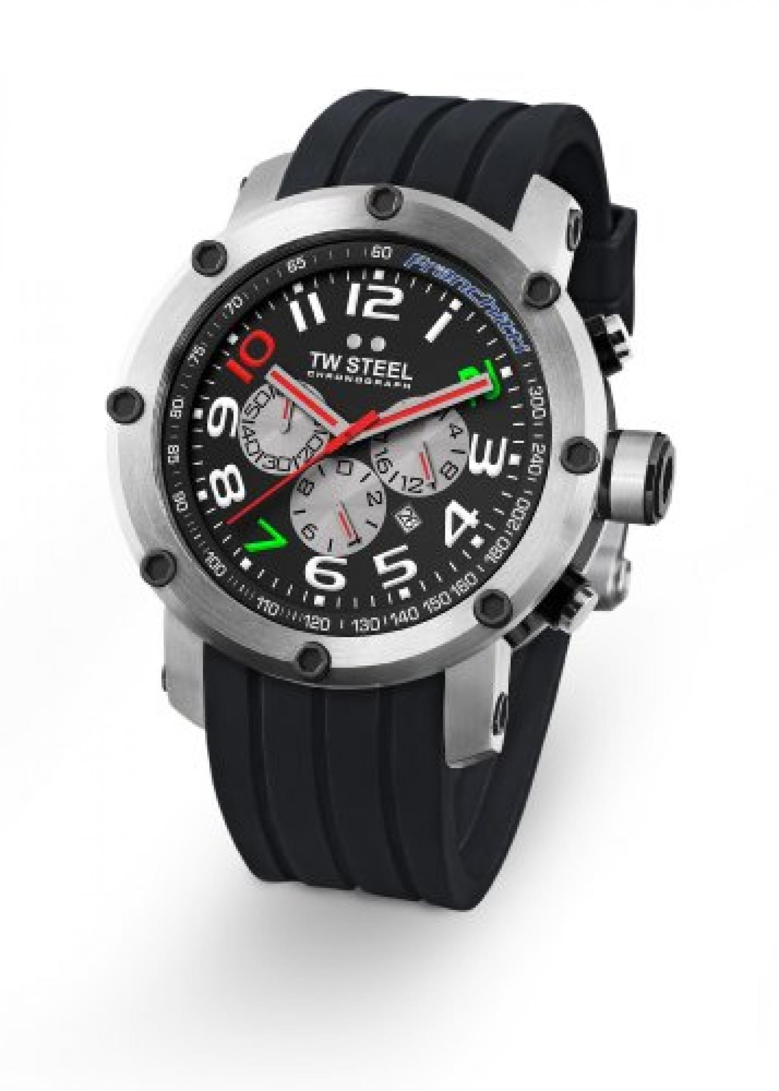TW Steel Unisex-Armbanduhr Chronograph kautschuk schwarz TW608