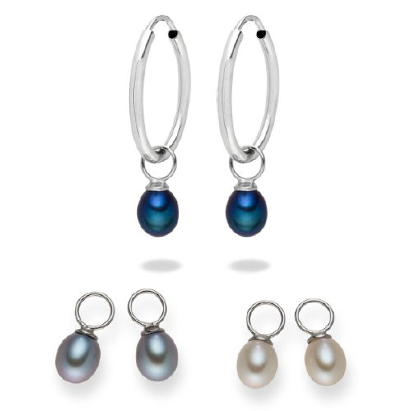 Valero Pearls Fashion Collection Damen-Creolen Süßwasser-Zuchtperlen weiß / silber / pfauenblau 925 Sterlingsilber 60840011
