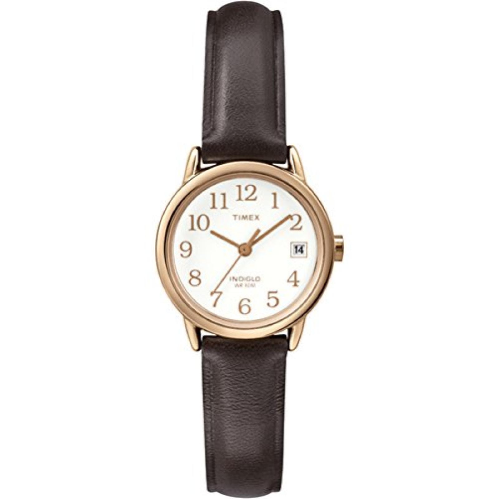 Timex Damen-Armbanduhr XS Easy Reader Analog Quarz Leder T2P564