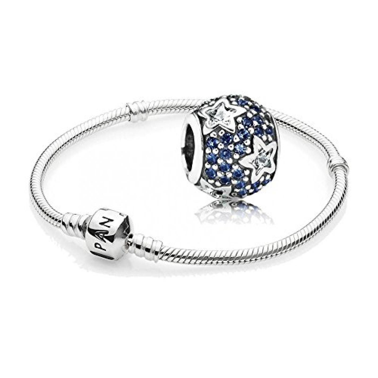 Original Pandora Geschenkset - 1 Silber Armband 590702HV und 1 Silber Element Folge den Sternen mit klarem und blauem Zirkonia 791382CZ