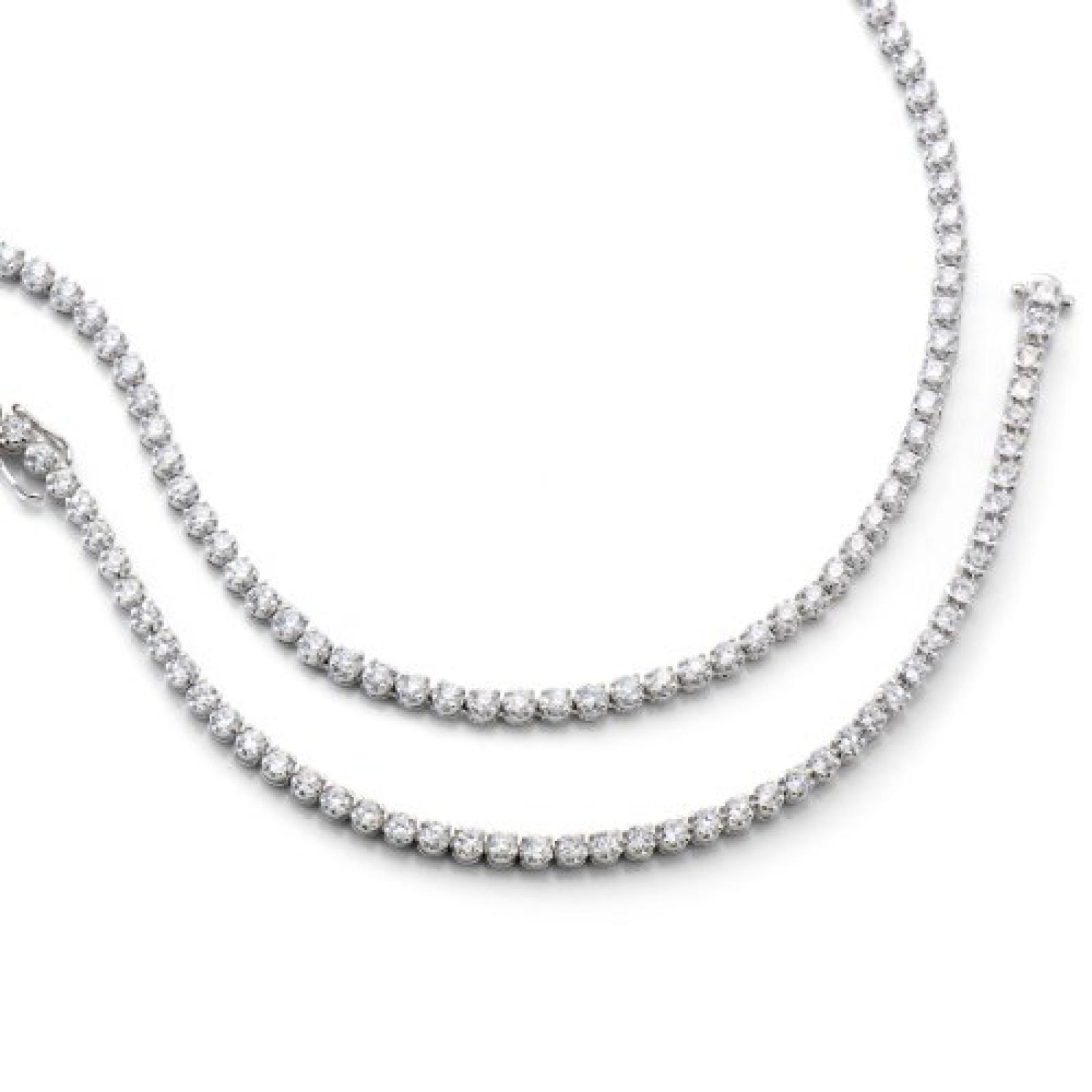 Celesta Damen-Collier 925/- Sterling Silber, 45Cm, Zirkonia Weiß, 358250068