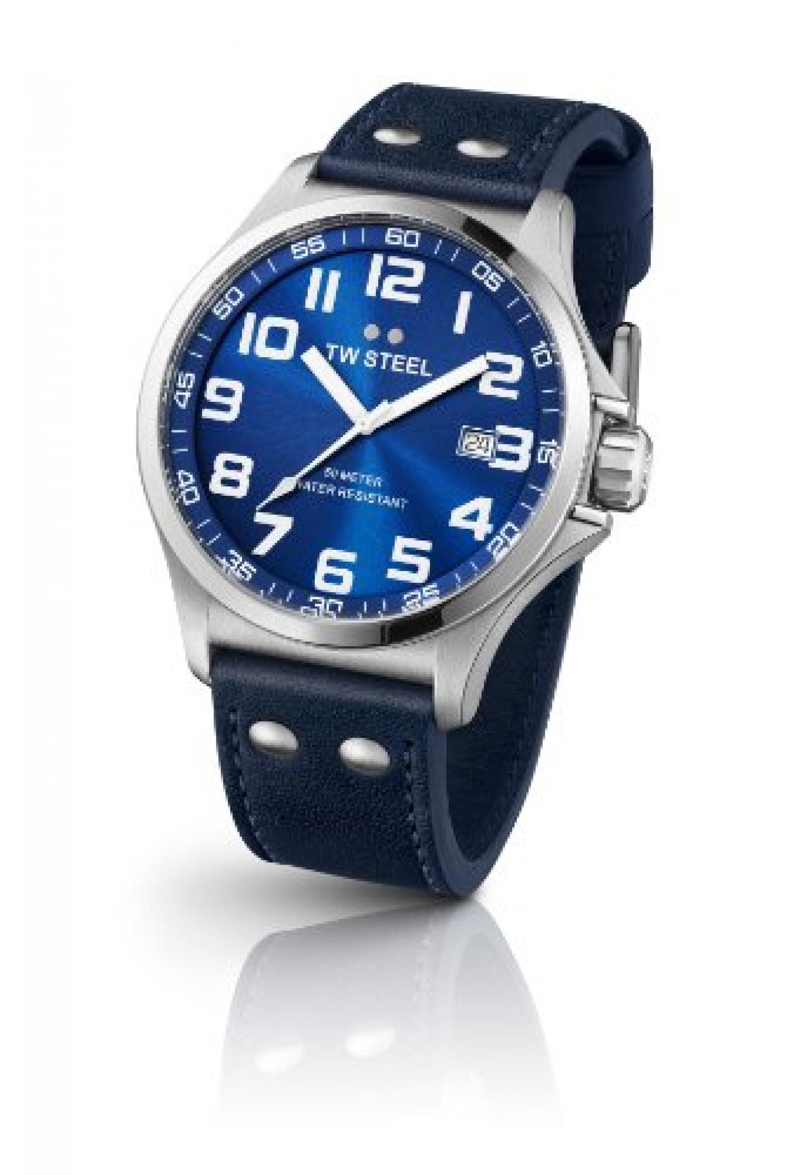 TW Steel Damen-Armbanduhr XL Pilot Analog Quarz Leder TW-400