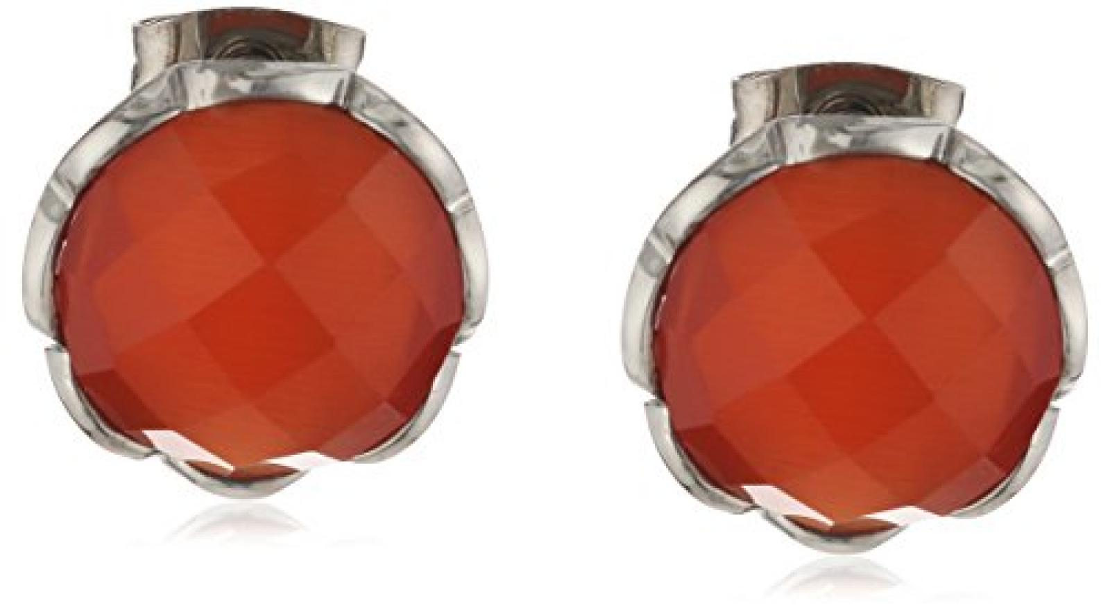Mike Ellis New York Damen-Ohrstecker Edelstahl 2 Swarovski-Kristalle rot-orange 12 mm D1585D/3