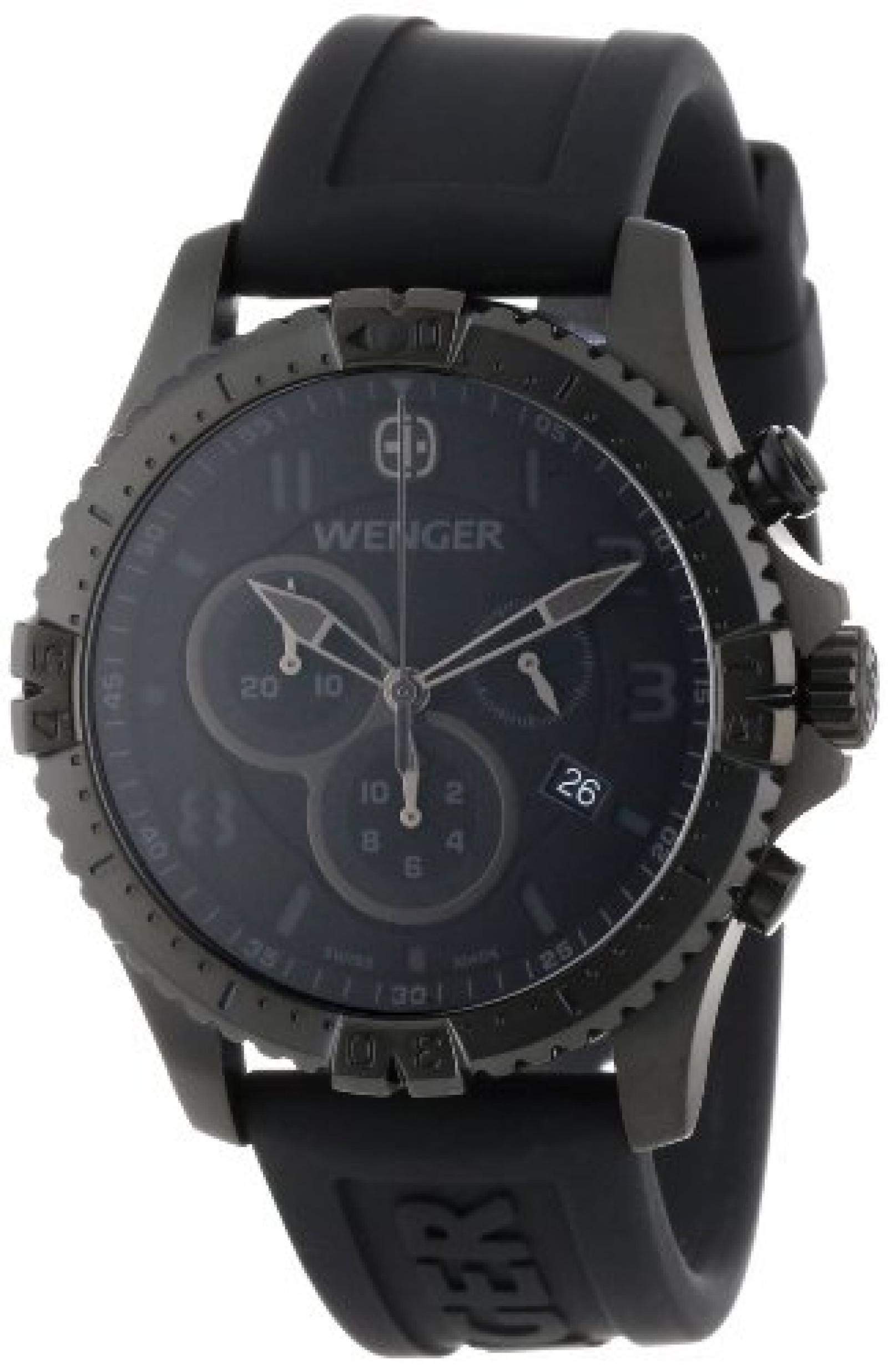 Wenger 77054 Mens Chronograph Black Silicon Strap Swiss Watch