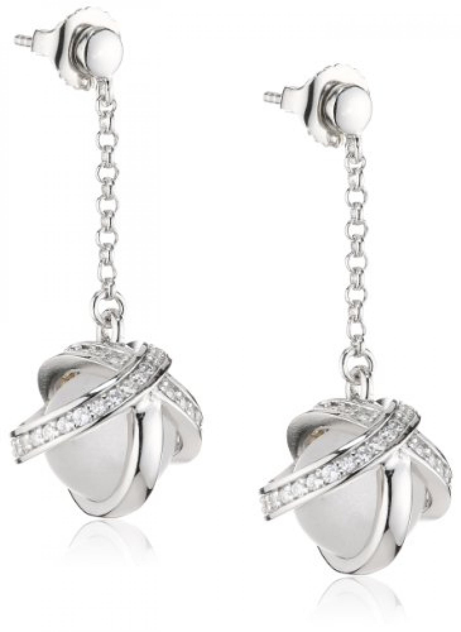 Pierre Cardin Damen-Ohrstecker 925 Sterling Silber rhodiniert Kristall Zirkonia Douce volupté weiß PCER90208B000