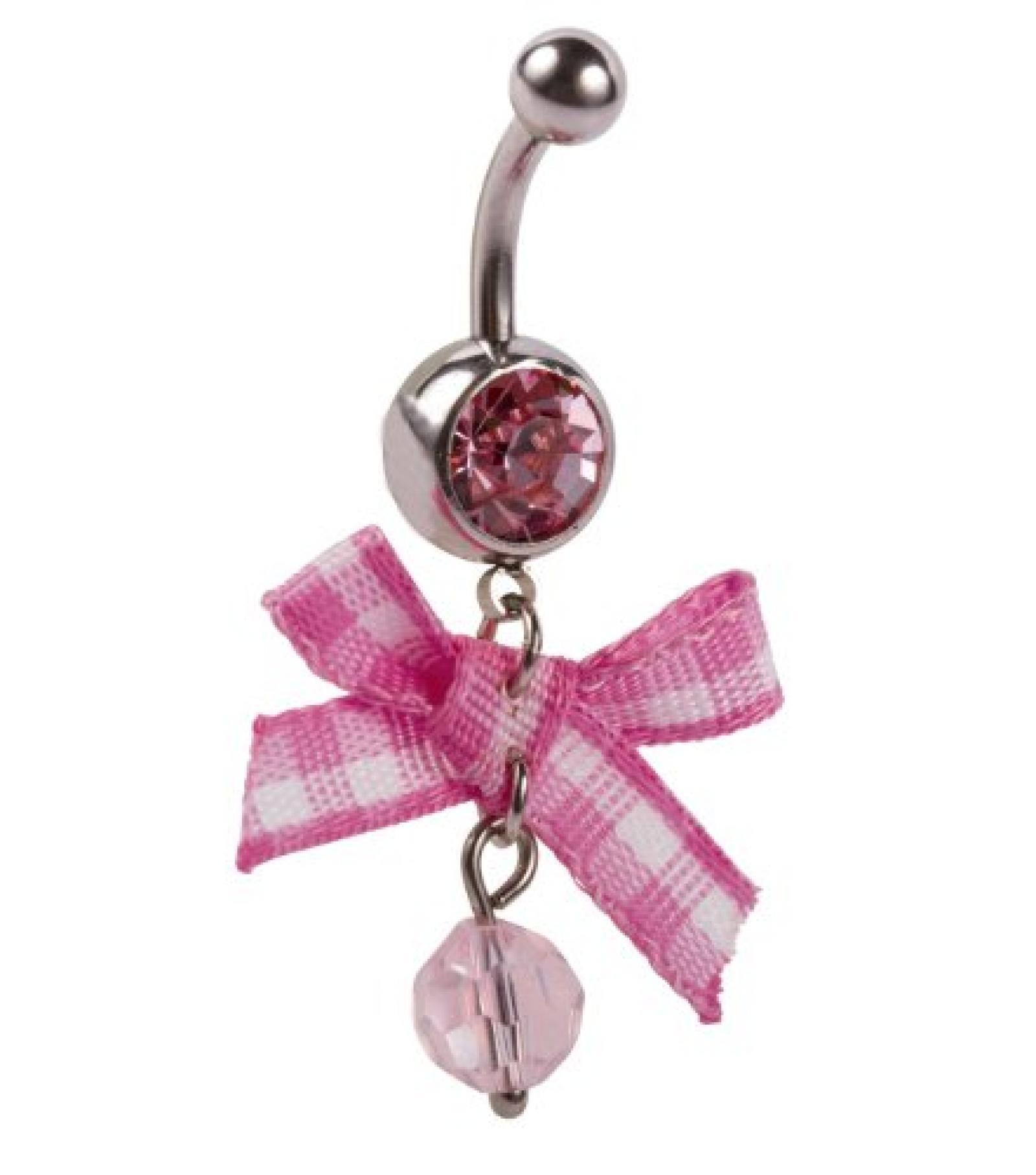 SIX silbernes Bauchnabel-Piercing mit rosa-weißer Schleife und Strass (269-261)