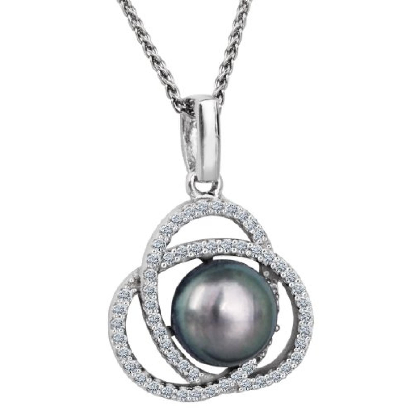 Bella Donna Damen-Halskette 925 Sterling Silber 1 Süßwasser Zuchtperle grau-schwarz 8,5 mm Zirkonia 109400