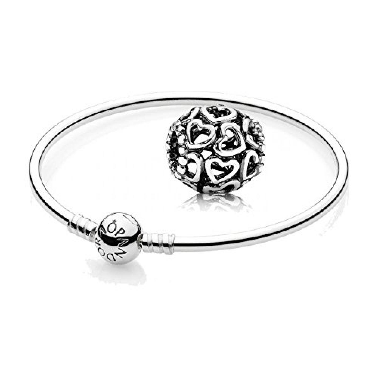 Original Pandora Geschenkset - 1 Silber Armreif 590713 und 1 Filigranes Silber Element Öffne Dein Herz 790964