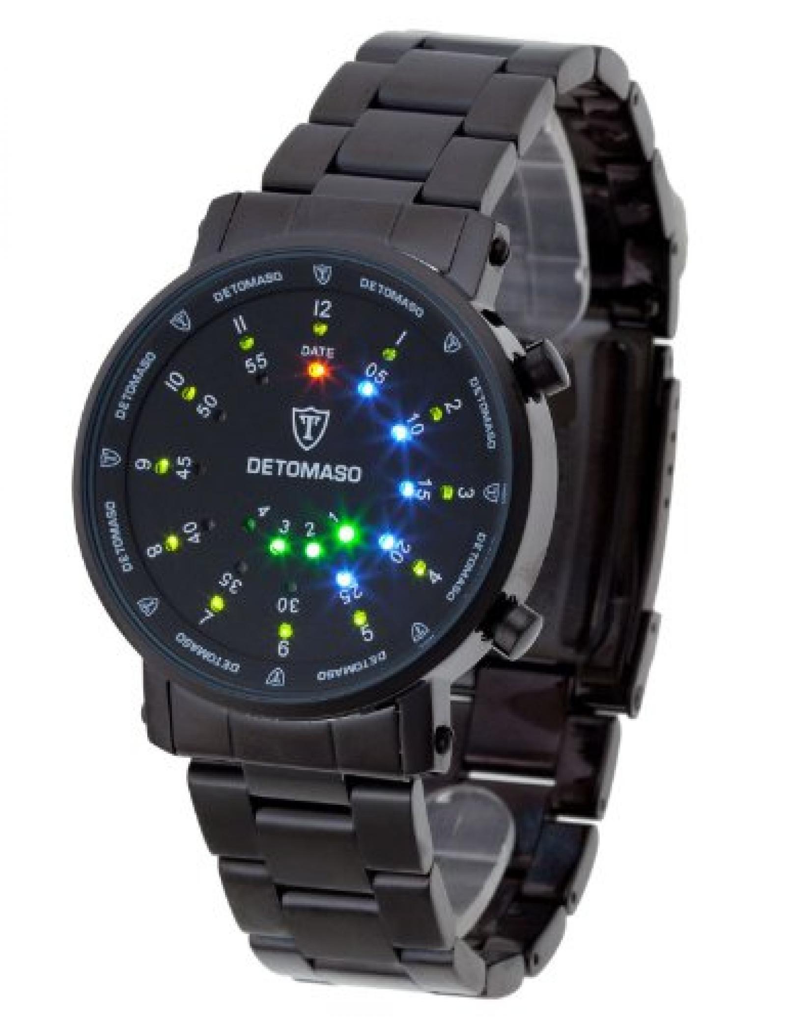 DeTomaso Trend Herren-Armbanduhr XL Spacy Timeline Rund Schwarz Digital Edelstahl beschichtet G-30730B