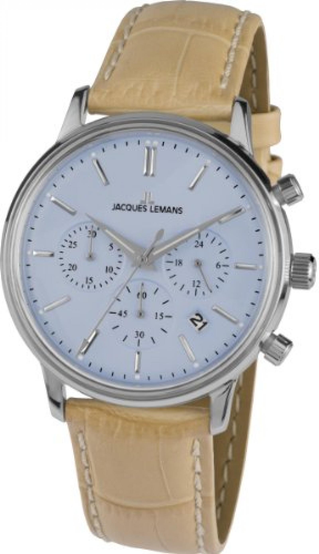 Jacques Lemans Herren-Armbanduhr XL Nostalgie Chronograph Quarz Leder N-209D