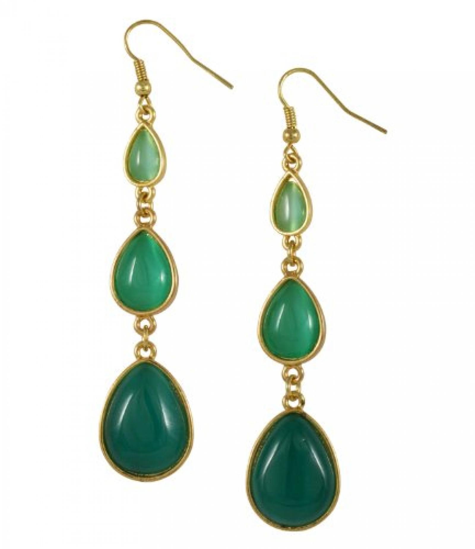 "SIX ""Gold & Green"" lange, goldene Ohrhänger mit grünen Tropfen (343-837)"