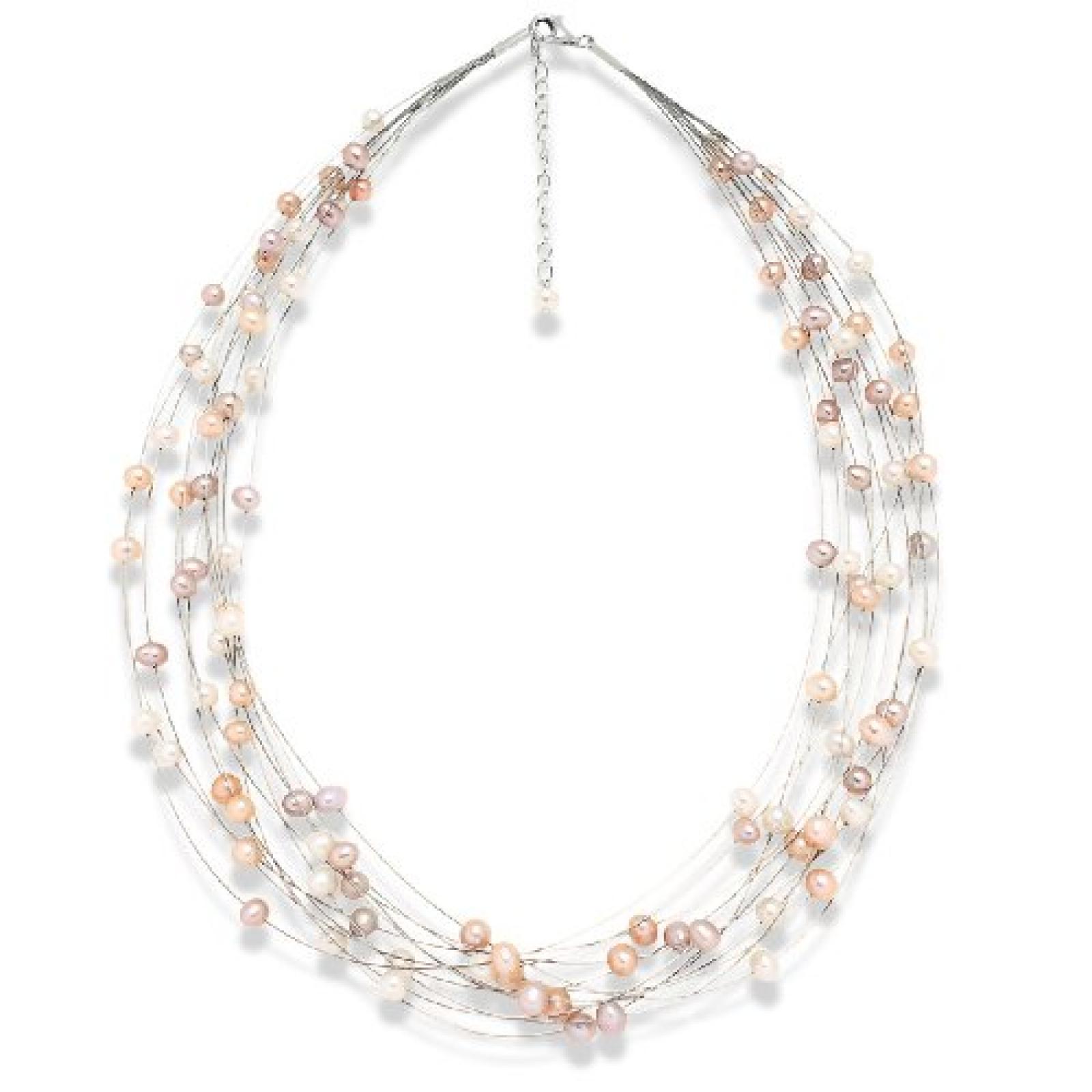 Valero Pearls Classic Collection Damen-Kette Hochwertige Süßwasser-Zuchtperlen in ca.  6 mm Oval weiß / apricot / flieder 925 Sterling Silber    43 cm + 5 cm Verlängerung   440530