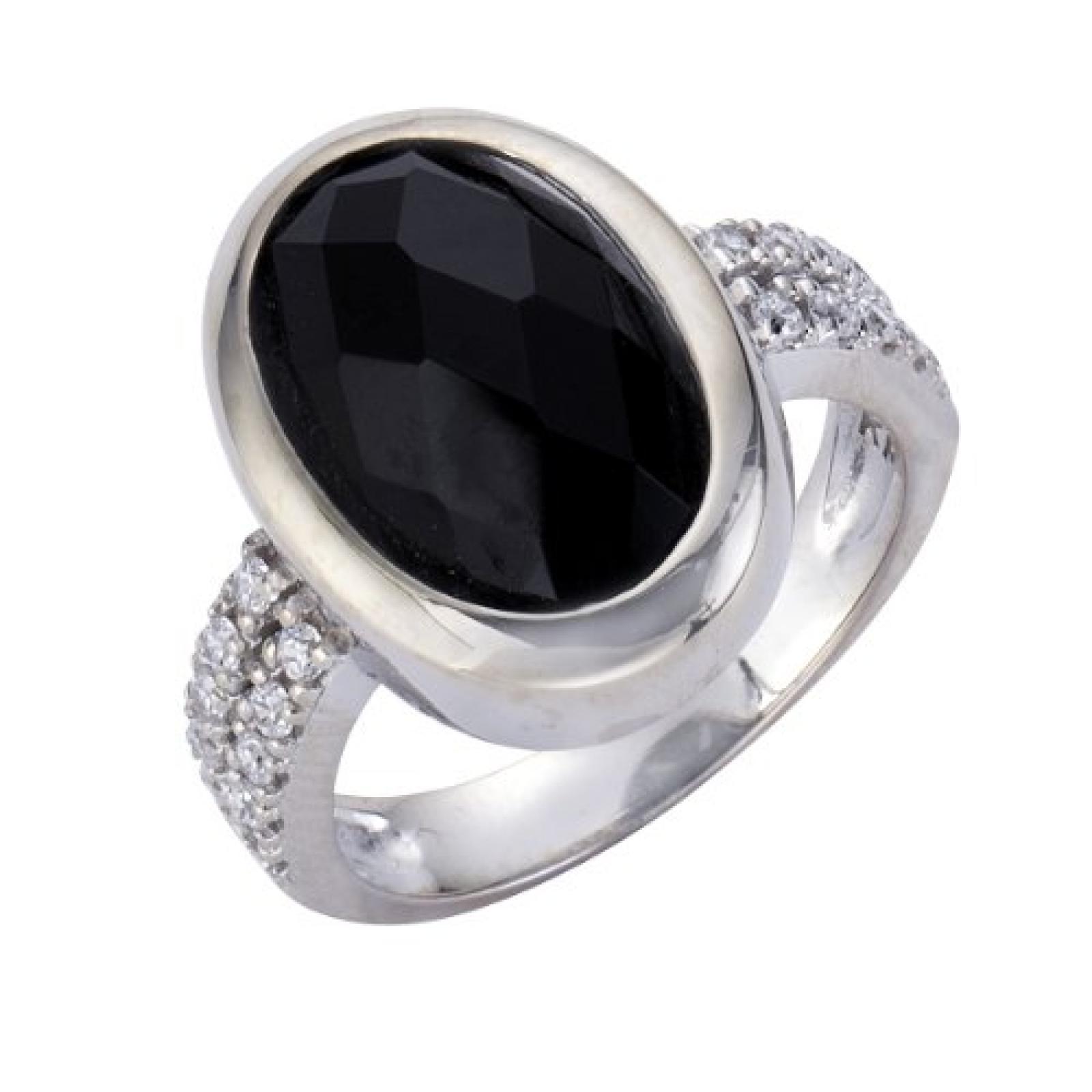 Celesta Damen-Ring 925 Sterling Silber Kristall schwarz + Zirkonia weiß Gr. 60 (19.1) 273270876-060