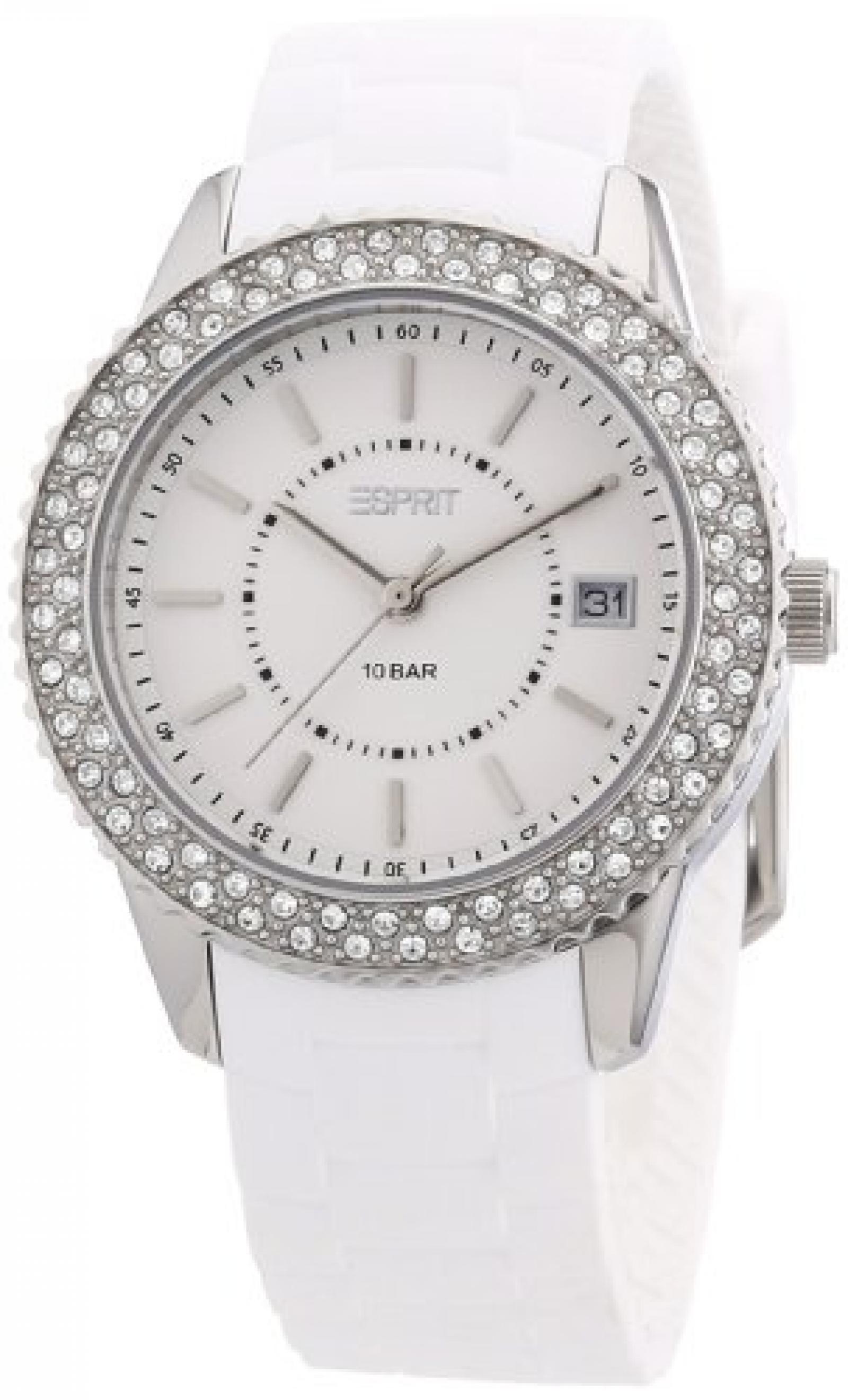 Esprit Damen-Armbanduhr marin glints Analog Quarz Silikon ES106212002