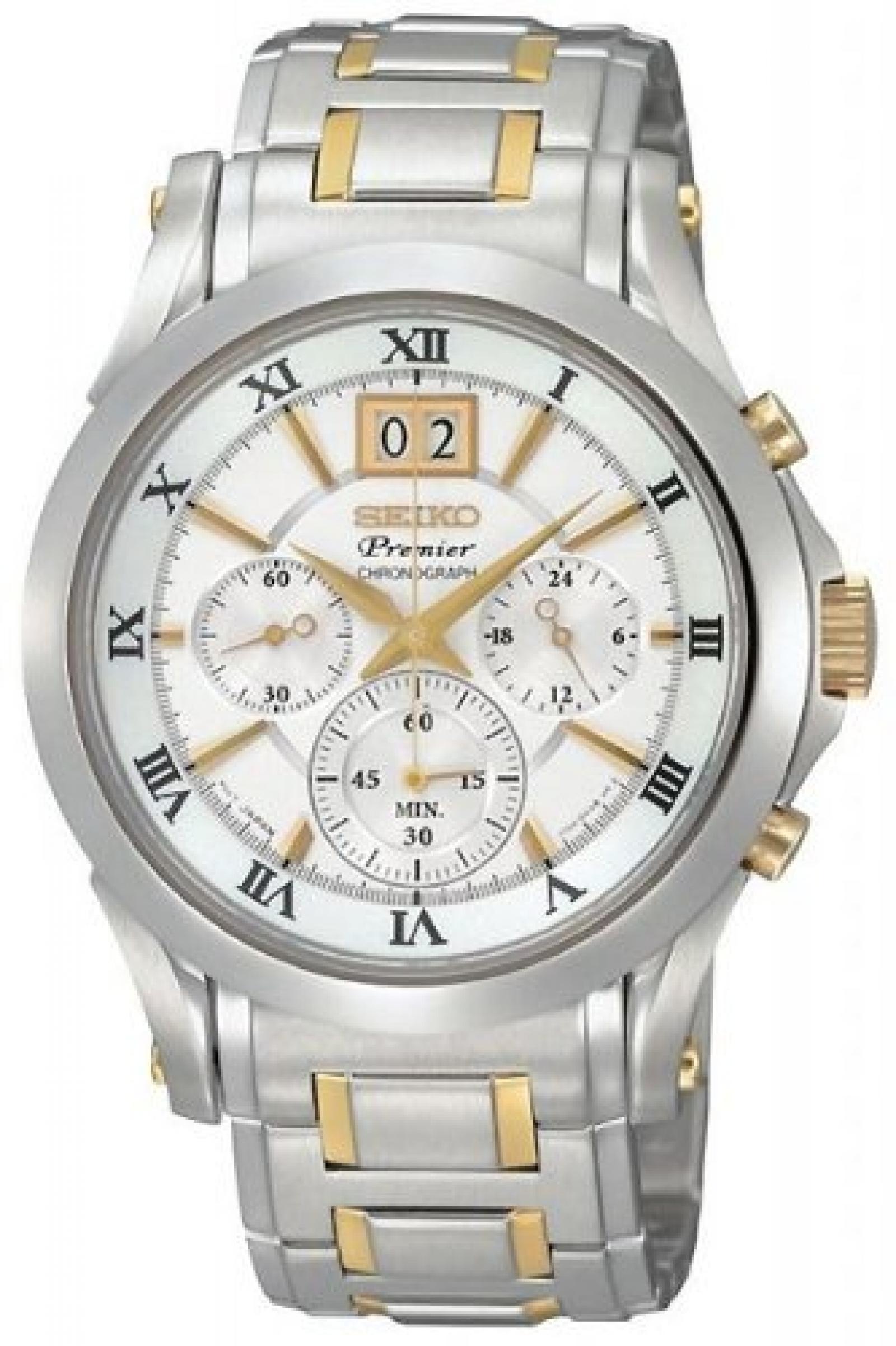 Seiko Mens Premier Chronograph White Dial Bracelet Watch - SPC058P1
